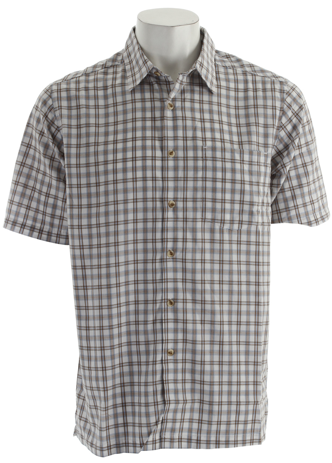 "Moisture-wicking, antimicrobial, odor-preventing, and sun-protective, the South Hampton Short Sleeve Shirt is designed with sustainable Bamboo-rich fabric that will keep you comfortable and dry.Key Features of the White Sierra Richmond Point Shirt: 49% polyester 49% bamboo rayon 2% cotton dobby plaid woven Sun protection fabric Wicking Pigment garment dyed Garment silicone and enzyme washed for softness 31.5"" back length - $26.95"