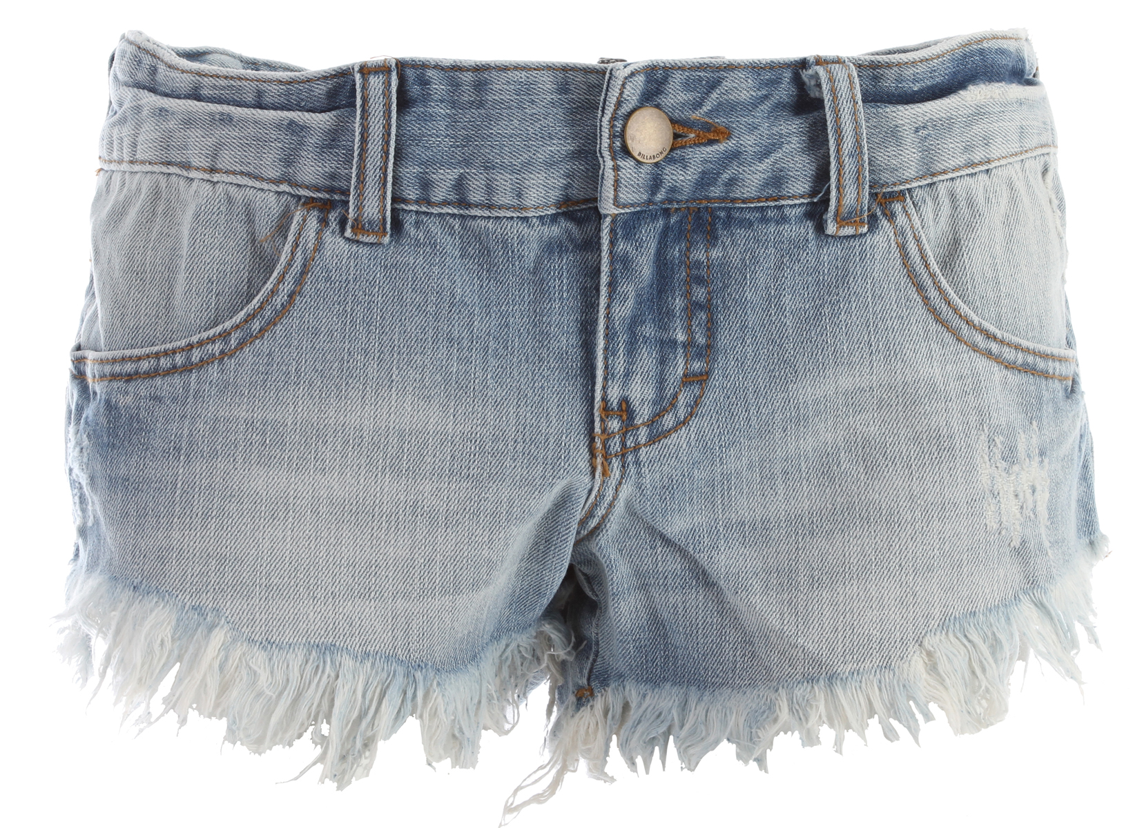 Surf Key Features of the Billabong Laneway Denim Shorts: 100% cotton 4 pocket denim cut off is the perfect staple for your wardrobe Scooped front leg with slightly longer fringe Slight tacking at waistband and back pockets Placement tribal print adds unique style - $49.50