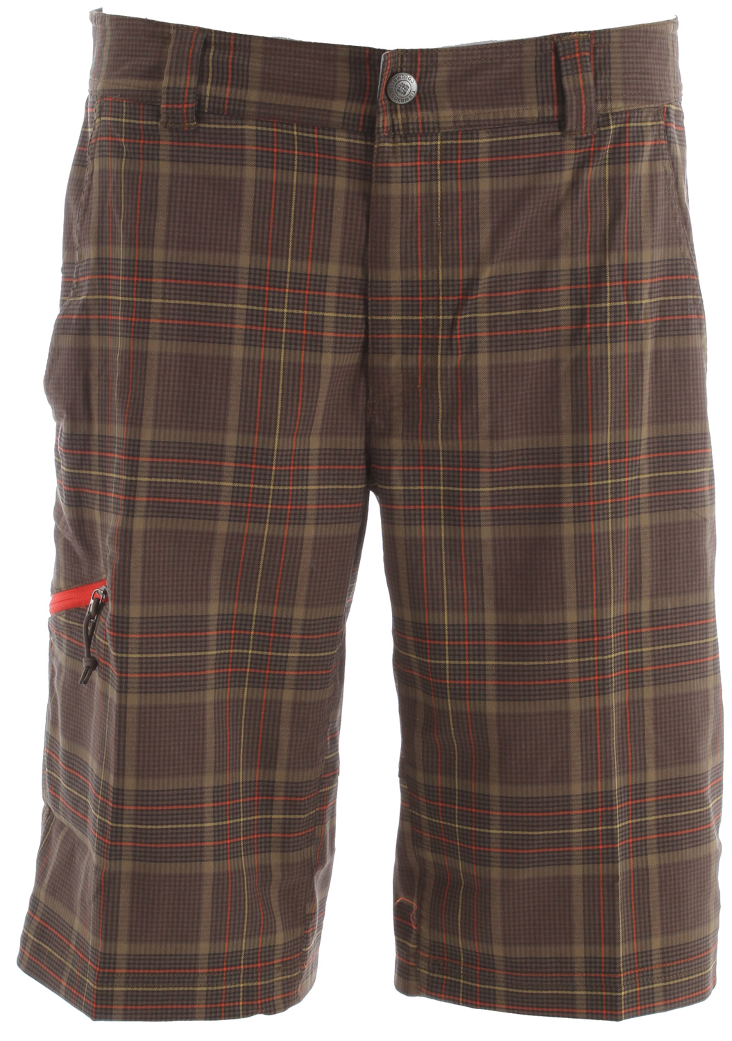 Key Features of the Columbia Cool Creek Stretch Plaid Shorts: 61% polyester/39% cotton, 57% recycled polyester/43% polyester mesh Omni-Wick™ UPF 15 sun protection Active fit 2-way comfort stretch Gusset detail Hook and loop closure Zip-closed security pocket Hand pockets Mesh pocket bags - $54.95