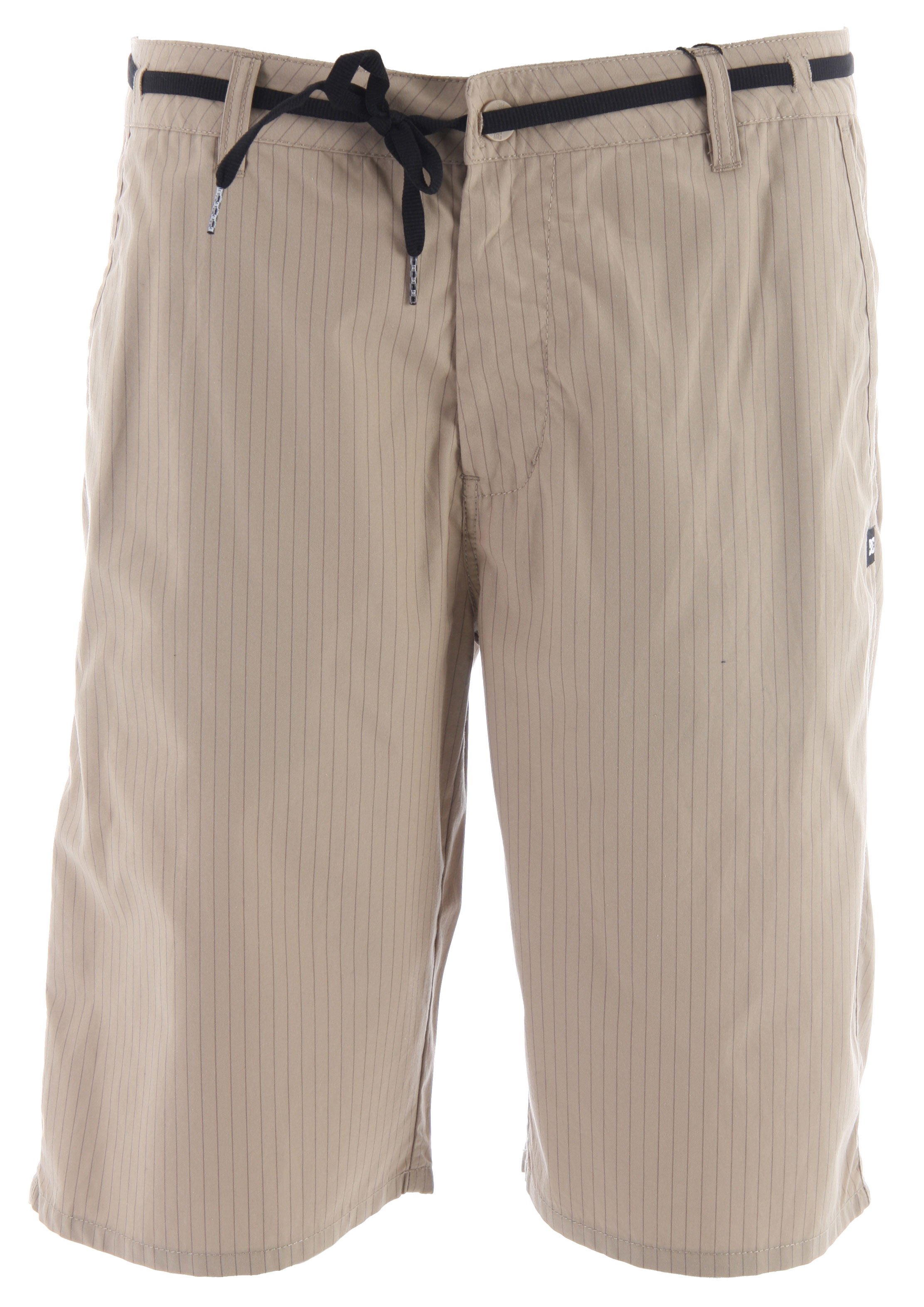 "Skateboard Key Features of the DC Mcarthur 21 Shorts: Slim fit chino shorts Yarndye pinstripe Rear welt pockets Zip fly 21"" outseam 100% cotton - $22.95"