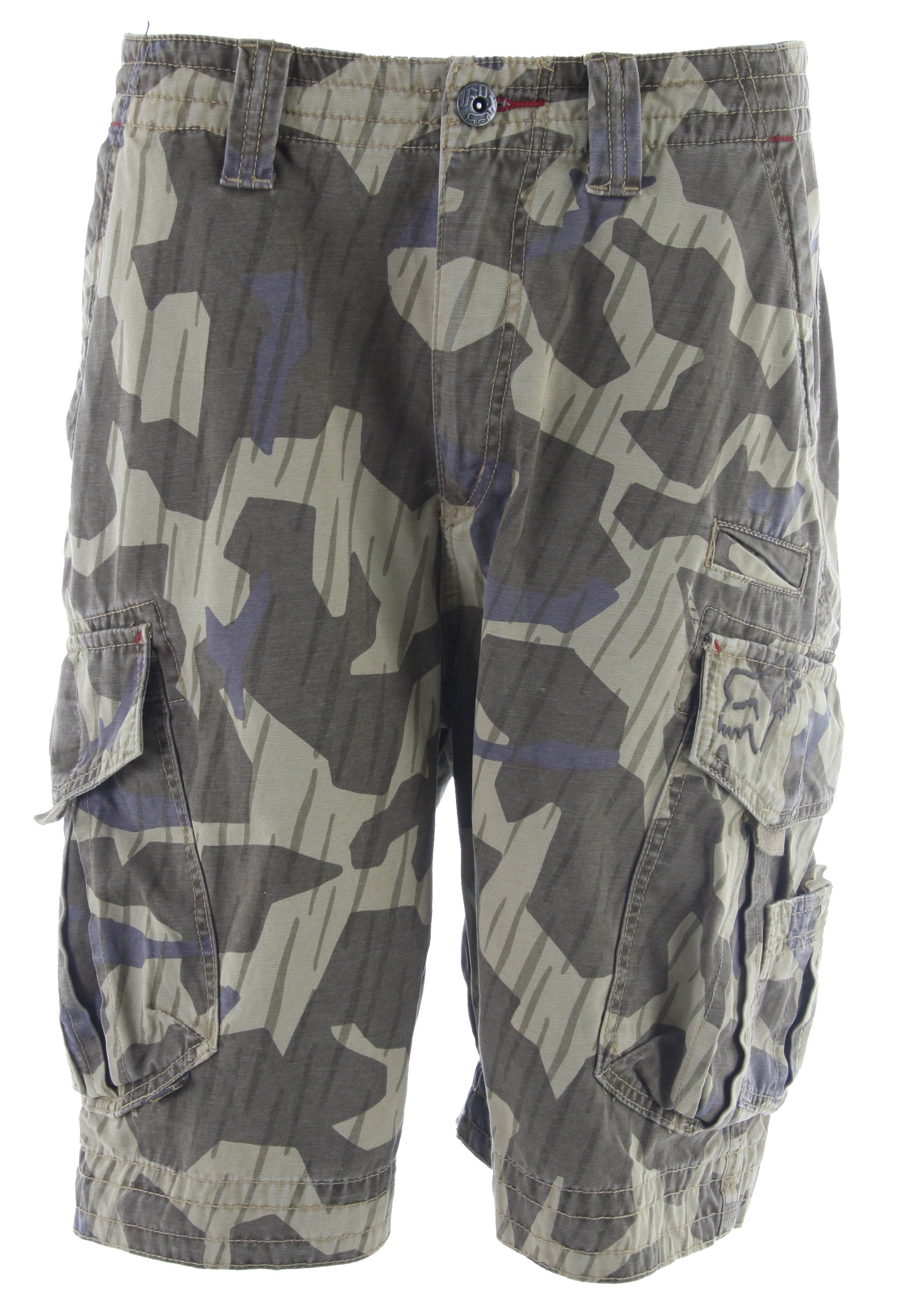 "Motorsports Here is a must have staple in your summer wardrobe collection. The Fox Slambozo Cargo Shorts is made with fine material, 100% cotton. This camo designed shorts features front pockets with back velcro pockets. And with its zipper fly, these easy to wear shorts are ideal for everyday wear. Rock these camo shorts with a simple T-shirt and you're all set. Hit the beach or the local park and be sure to feel comfortable all day long.Key Features of the Fox Slambozo Cargo Shorts: Carry your cargo in these Fox shorts Front pockets with side and back Velcro pockets Logo button waist and zip fly Embroidered logo crest on back side 100% Cotton 23"" outseam - $53.95"