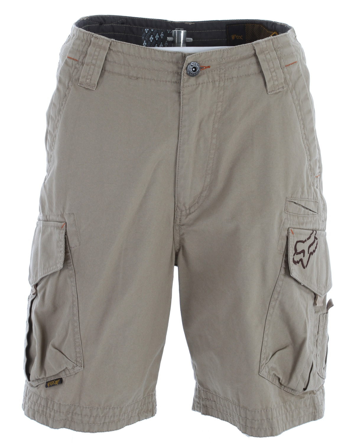 "Motorsports Key Features of the Fox Slambozo Solid Shorts: 100% cotton brushed canvas Stone wash Embroidered patch on back waist Fox head embroidery on side pocket Zipper fly 22"" outseam Flag label on cargo pocket - $56.50"