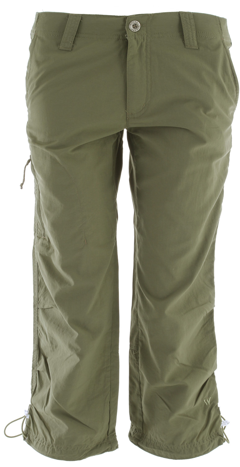"Camp and Hike The Bent Creek Capri is our most durable hiking capri with built in UPF sun protection and quick drying fabric. Quick-drying nylon make these pants perfect for the beach, traveling, boating or fishing.Key Features of the White Sierra Bent Creek Capris: 100% nylon rip stop woven UPF 30 Comfort fit side elastic Zip secure thigh pocket Zip secure back pocket Articulated knees Drawcord cinch at bottom hem Inseam: 22"" - $27.95"