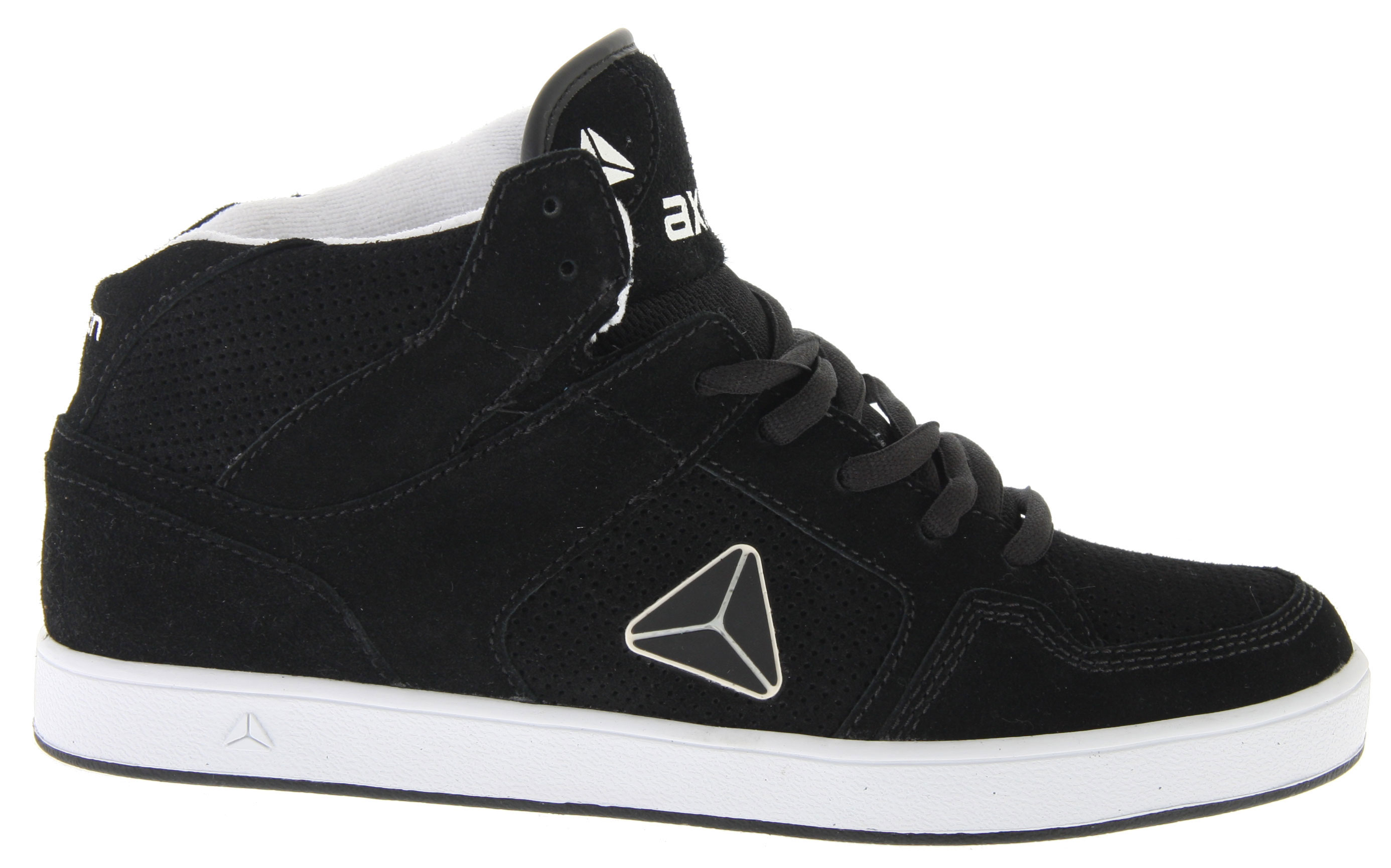 Skateboard The old school high-top flava of the Axion Atlas skate shoe features uppers of distressed action leather, action nubuck, or suede. It has a triple-stitched toecap for added durability. A padded tongue and collar are included for added comfort and support. The fabric lining helps wick away moisture. A super-cush footbed is added for long-lasting comfort. Finally the durable rubber outsole is there for added traction and long use-time. Time for sum AXION! - $41.95