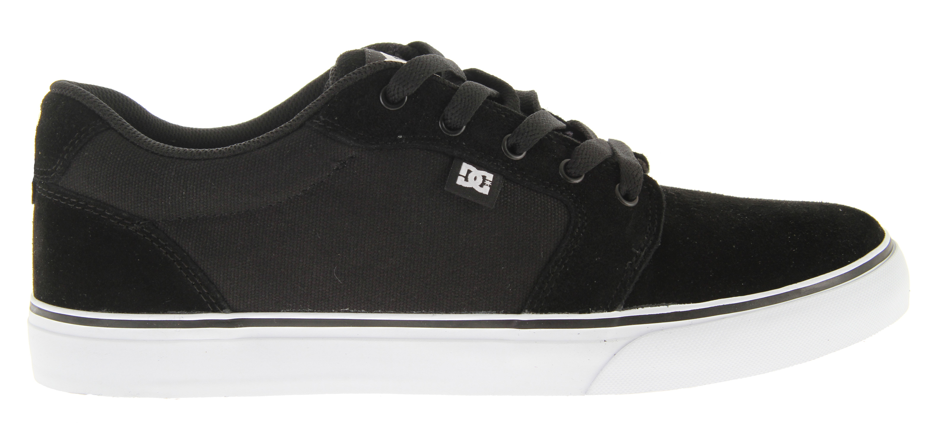 "Skateboard Key Features of the DC Anvil Skate Shoes: Features Heavy Duty Suede upper vent holes in upper for increased air flow Vulcanized construction for great board feel and sole flex Abrasion resistant sticky rubber outsole DC's Trademarked ""Pill Pattern"" bottom - $54.95"