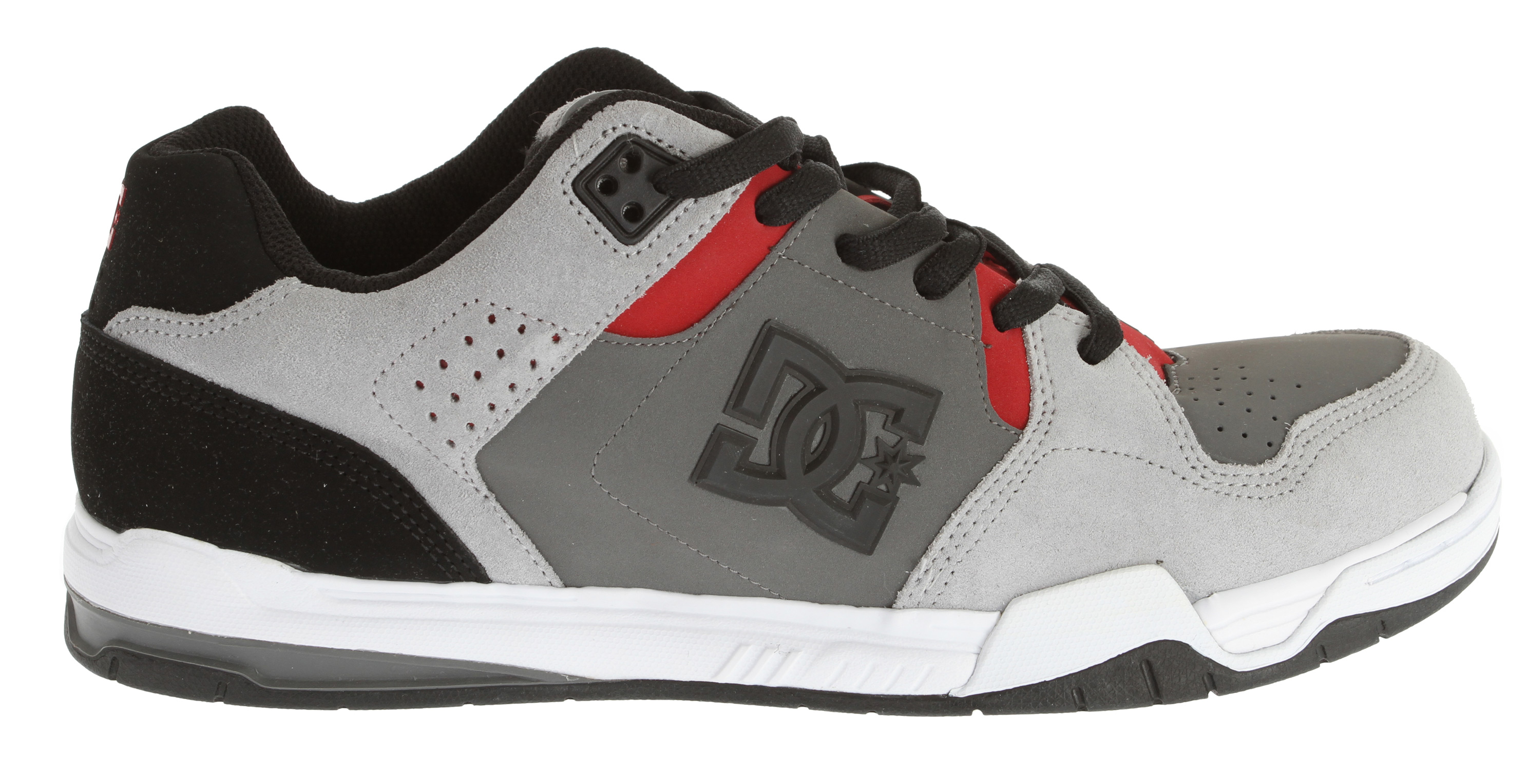 "Skateboard Key Features of the DC Decibel Skate Shoes: Heavy-Duty Suede Upper Perforated Upper Panel TPU Eyelets Foam-Padded Tongue and Collar Lightweight Mesh Tongue DC's Performance Wrap Cup Sole Lightweight Molded EVA Midsole Abrasion-Resistant Sticky Rubber Outsole with DC's Trademarked ""Pill"" Pattern - $44.95"