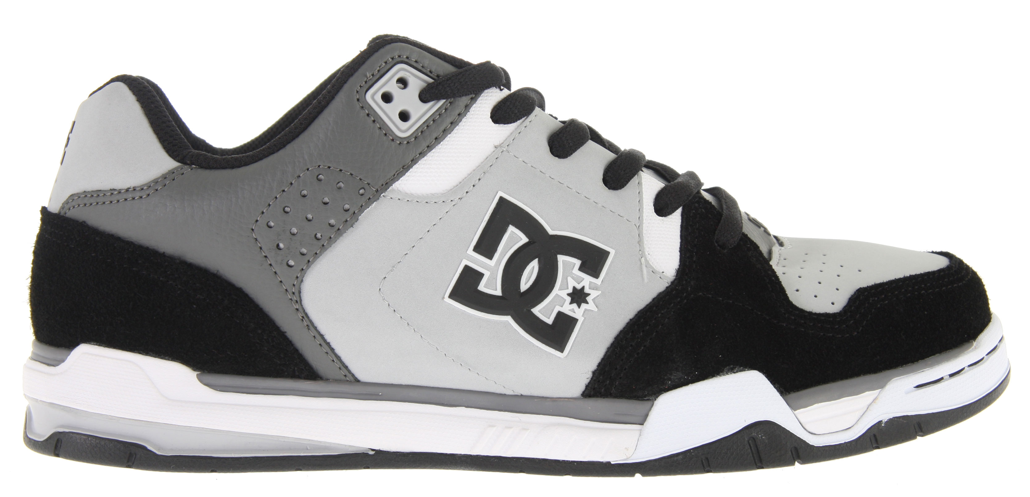 Skateboard Key Features of the DC Decibel Skate Shoes: Heavy-Duty Suede Upper Perforated Upper Panel TPU Eyelets Foam-Padded Tongue and Collar Lightweight Mesh Tongue Performance Wrap Cup Sole Lightweight Molded EVA Midsole Abrasion-Resistant Sticky Rubber Outsole with DC's Trademarked Pill Pattern - $44.95