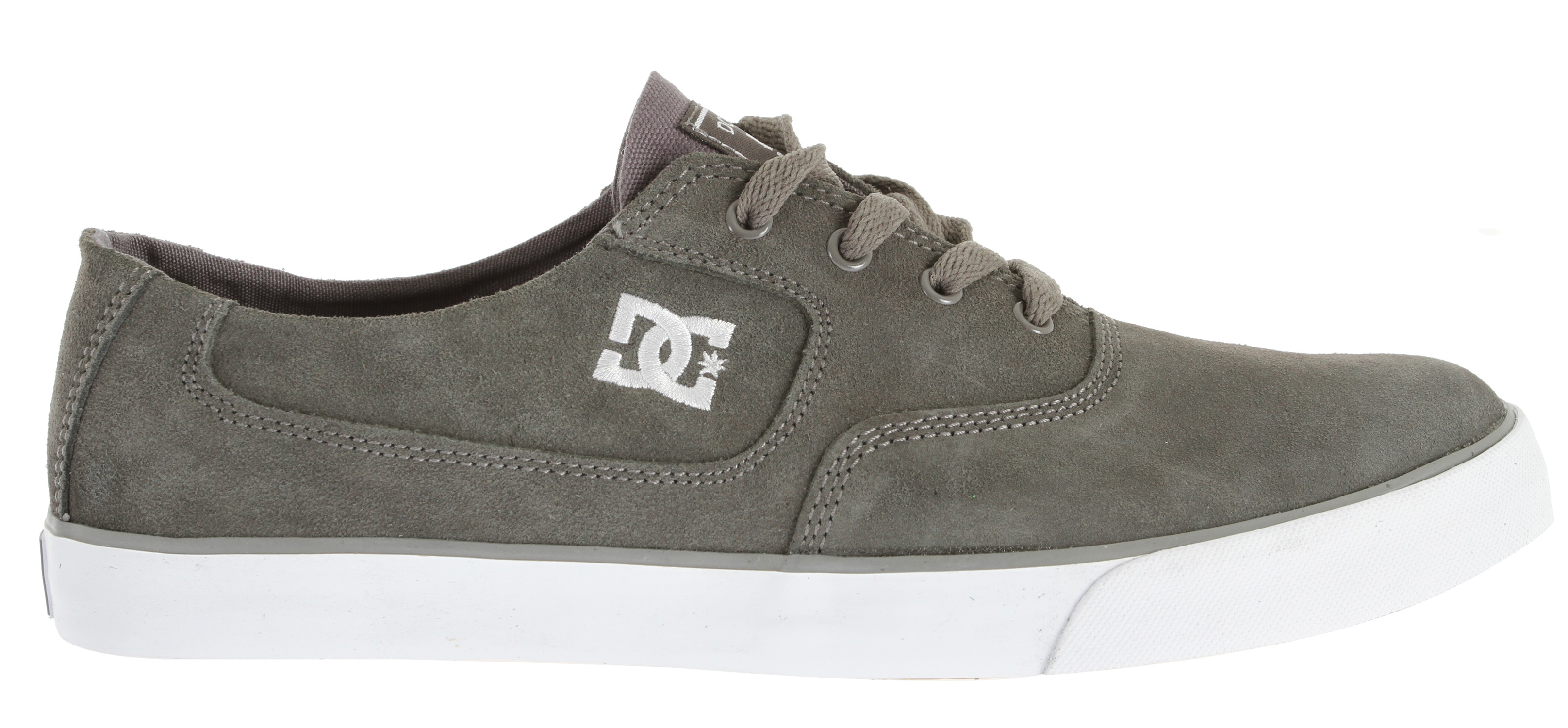 "Skateboard Key Features of the DC Flash Skate Shoes: Canvas upper Abrasion-Resistant Sticky Rubber Outsole DC's Trademarked ""Pill"" Pattern Embroidered DC logo Does not come in a box - $39.95"