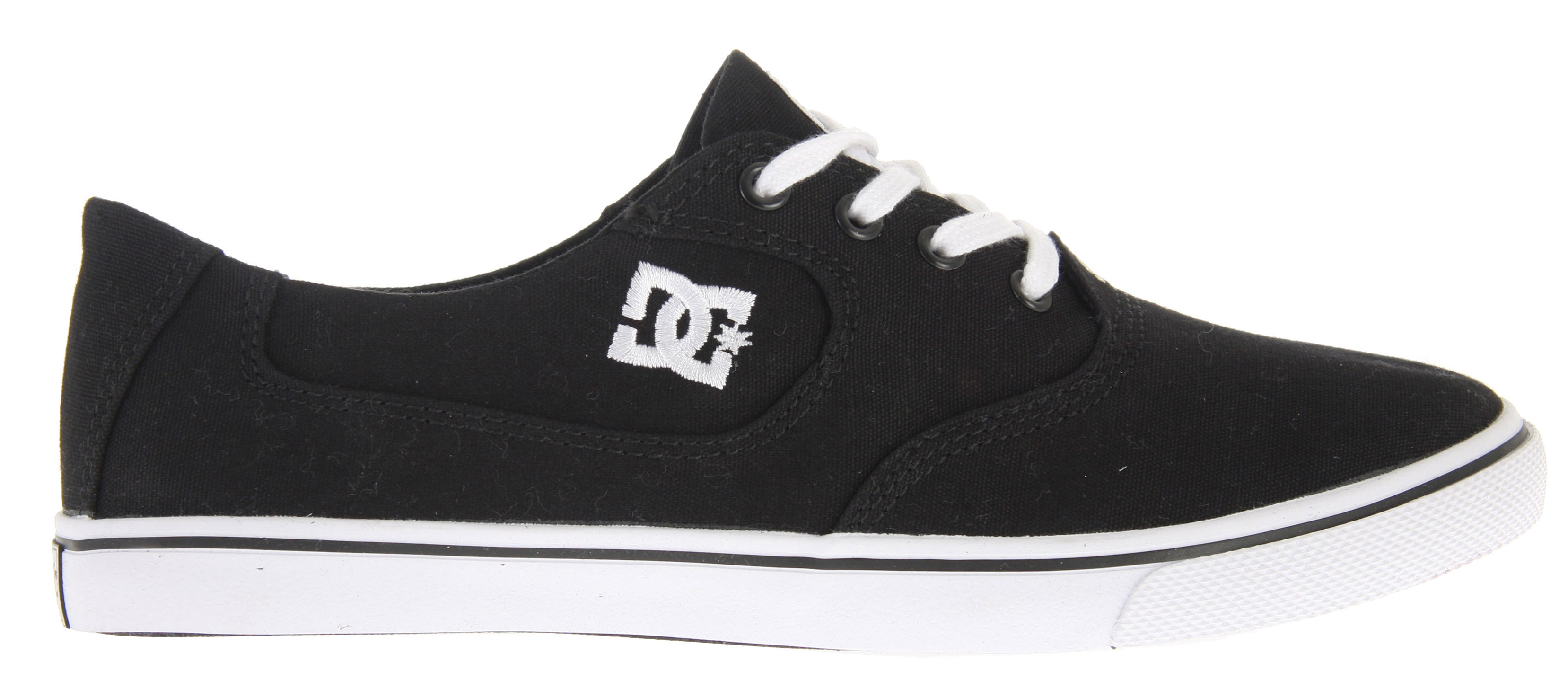 "Skateboard Key Features of the DC Flash Canvas Skate Shoes: Canvas upper Abrasion-Resistant Sticky Rubber Outsole DC's Trademarked ""Pill"" Pattern Embroidered DC logo - $25.95"