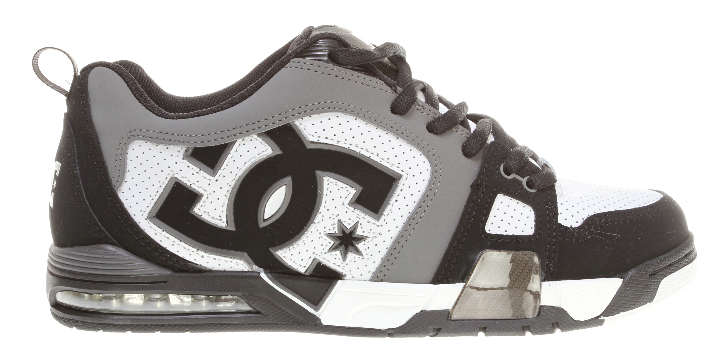 Skateboard Key Features of the DC Frenzy Skate Shoes: Soft Resilient Action Leather Perforated Upper Panel Hidden Nylon Lace Loop TPU Eyelets Foam-Padded Tongue and Collar Lightweight Mesh Tongue Spandex Tongue Holders DC's Performance Wrap Cup Sole Mid-Length Airbag Performalite - $61.95