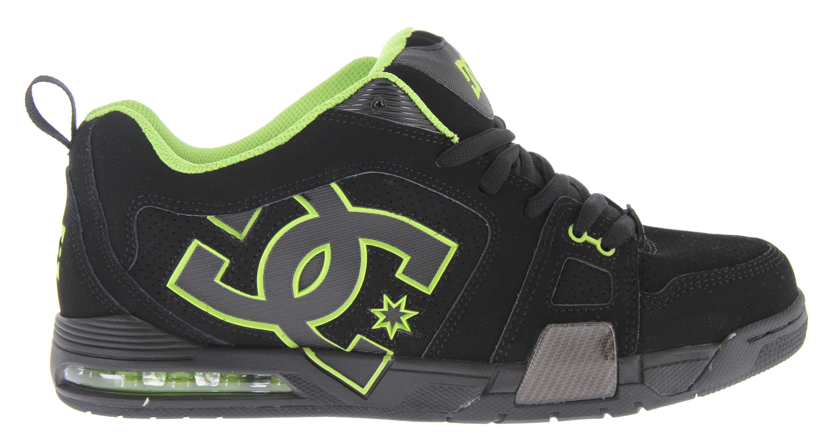 Skateboard Key Features of the DC Frenzy Skate Shoes: Soft Resilient Action Leather Perforated Upper Panel Hidden Nylon Lace Loop TPU Eyelets Foam-Padded Tongue and Collar Lightweight Mesh Tongue Spandex Tongue Holders DC's Performance Wrap Cup Sole Mid-Length Airbag Performalite - $57.95