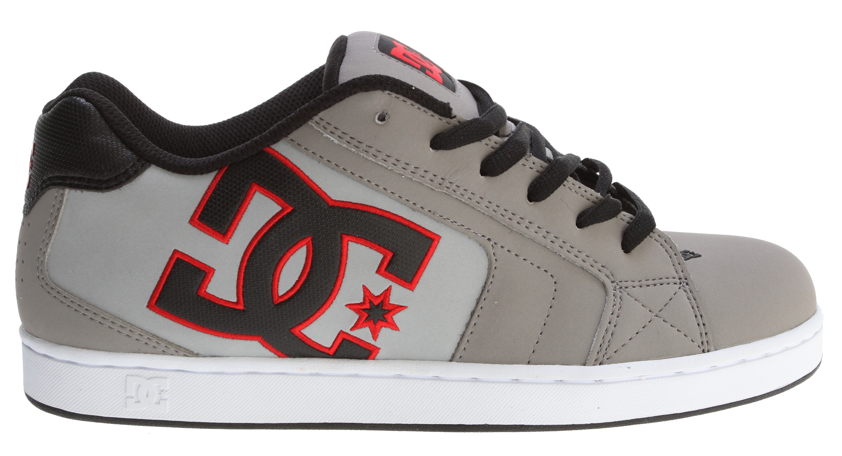 "Skateboard Key Features of the DC Net Skate Shoes: Large quarter logo and foam padded tongue and collar for comfort Vent holes in upper for increased air flow Lightweight mesh tongue bottom DC's trademarked ""Pill Pattern"" bottom - $32.95"