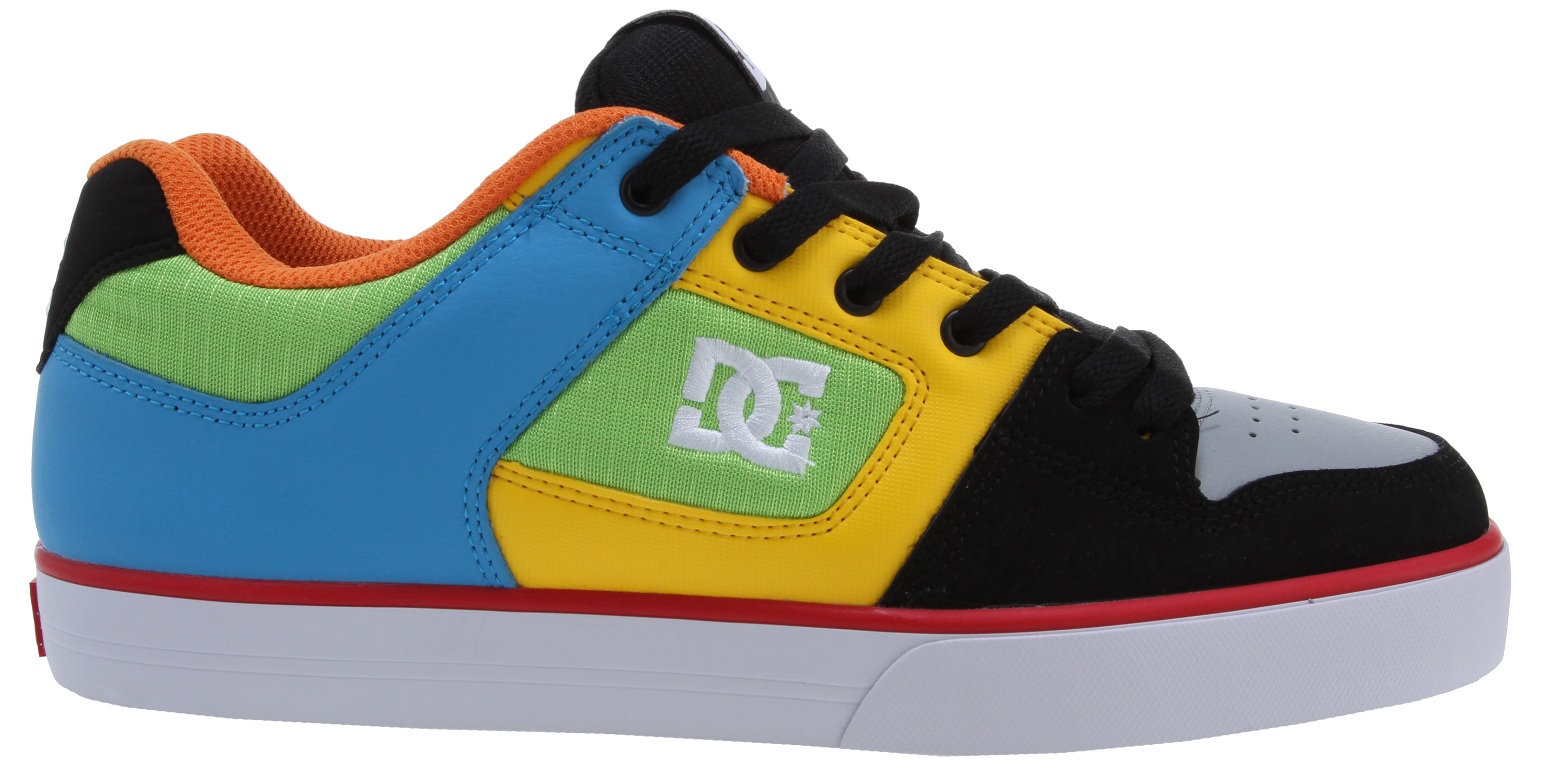 "Skateboard Raw and uncut, the Pure has an upper built from durable suede, nubuck, or leather. The tongue and heel collar are foam padded for comfort and support. The upper also features vent holes for breathability, as well as metal lace eyelets. The performance-wrap cup sole incorporates DC's DGT rubber for durability and grip. Key Features of the DC Pure Skate Shoes: Foam Padded Tongue and Collar for added comfort and support Vent holes in upper for increased air flow Metal eyelets Performance wrap cup sole, DC's exclusive construction technique DGT Dynamic Grip Technology Abrasion-resistant sticky rubber outsole with DC's trademarked ""Pill Pattern"" bottom - $41.95"