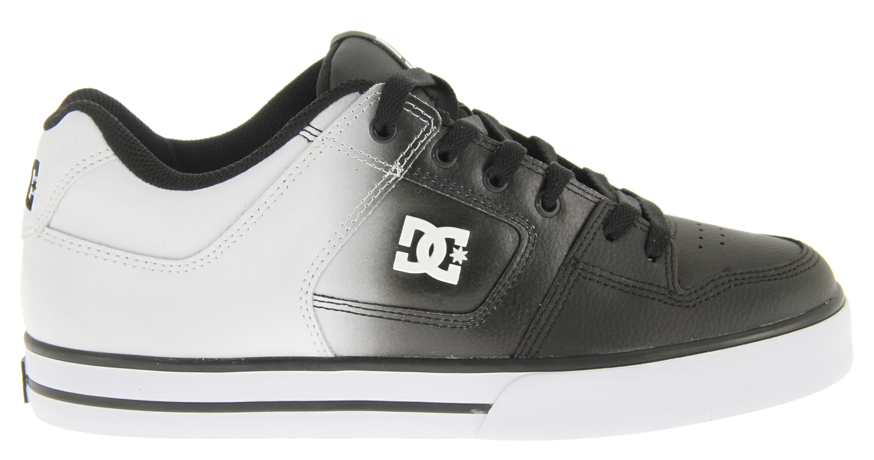 "Skateboard Key Features of the DC Pure SE Skate Shoes: Soft resilient action leather or action nubuck upper Eyelets on medial side Metal eyelets and lace locks Foam-padded tongue and collar * Lightweight mesh tongue Tongue gusset Spandex tongue holder Rubber toe wrap Multi-tone bottom with DC's trademarked ""pill"" pattern - $44.95"