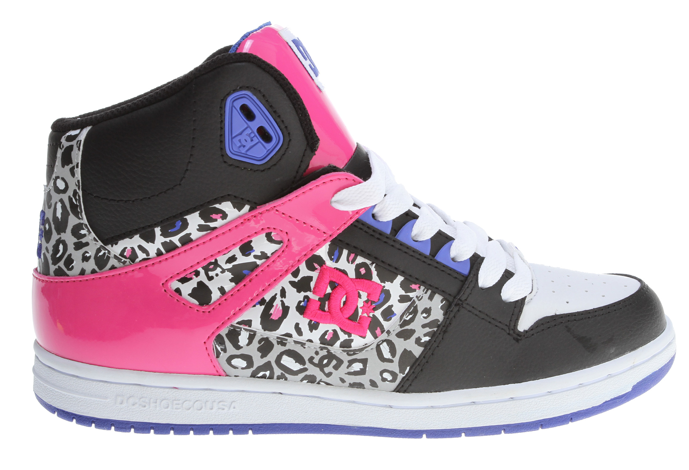 "Skateboard Key Features of the DC Rebound HI Skate Shoes: Action Leather Upper Foam Padded Tongue And Collar For Comfort Lightweight Mesh Tongue Bottom DC's Trademarked ""Pill Pattern"" Bottom. - $48.95"
