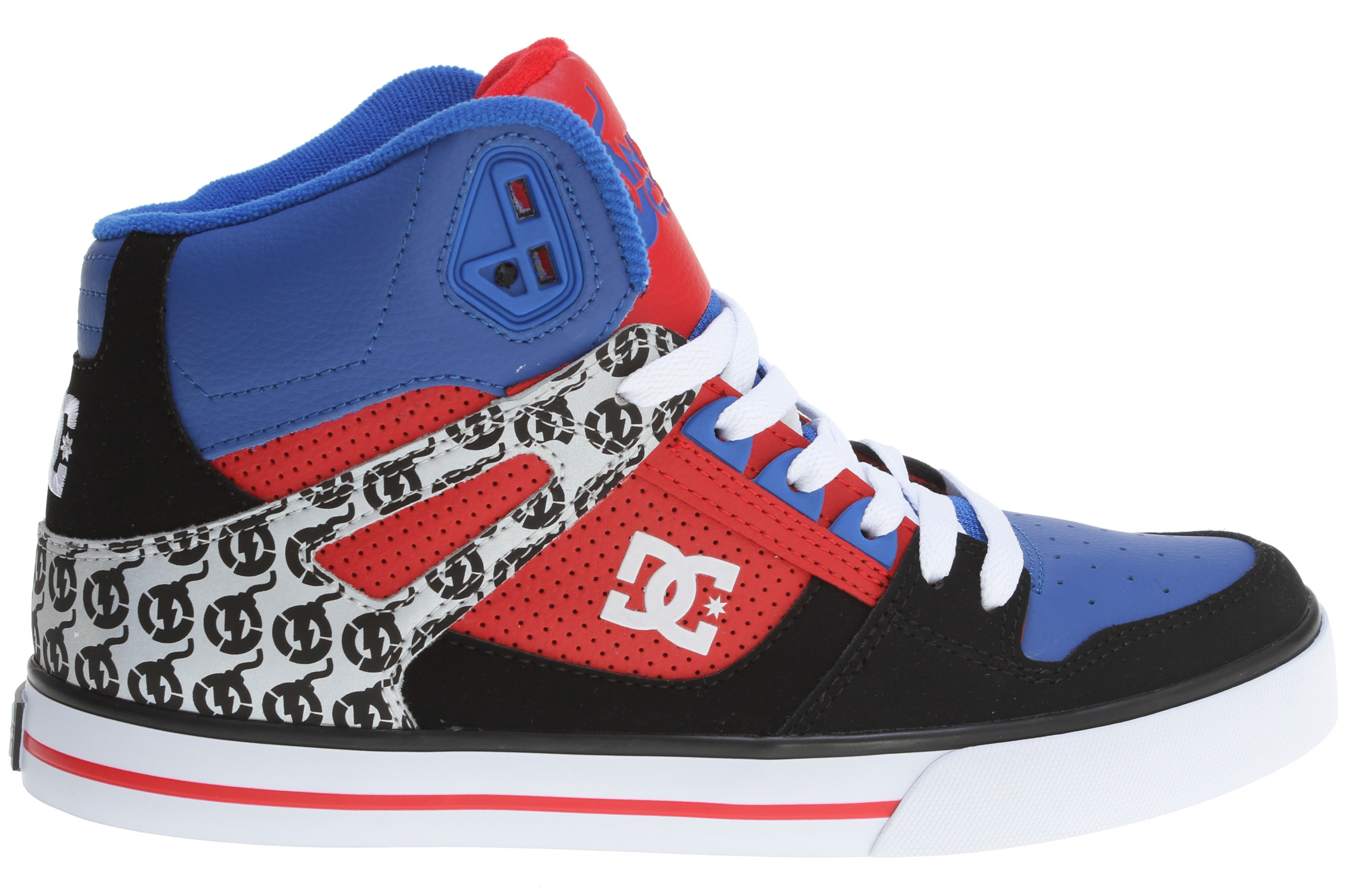 Skateboard Key Features of the DC Spartan Hi WC Nitro Circus Skate Shoes: Colorway inspired by the cast of Nitro Circus Reflective ankle strap Foam padded tongue and collar Vent holes in upper TPU eyelets Performance rubber wrap cupsole Abrasion resistant sticky rubber outsole - $55.95