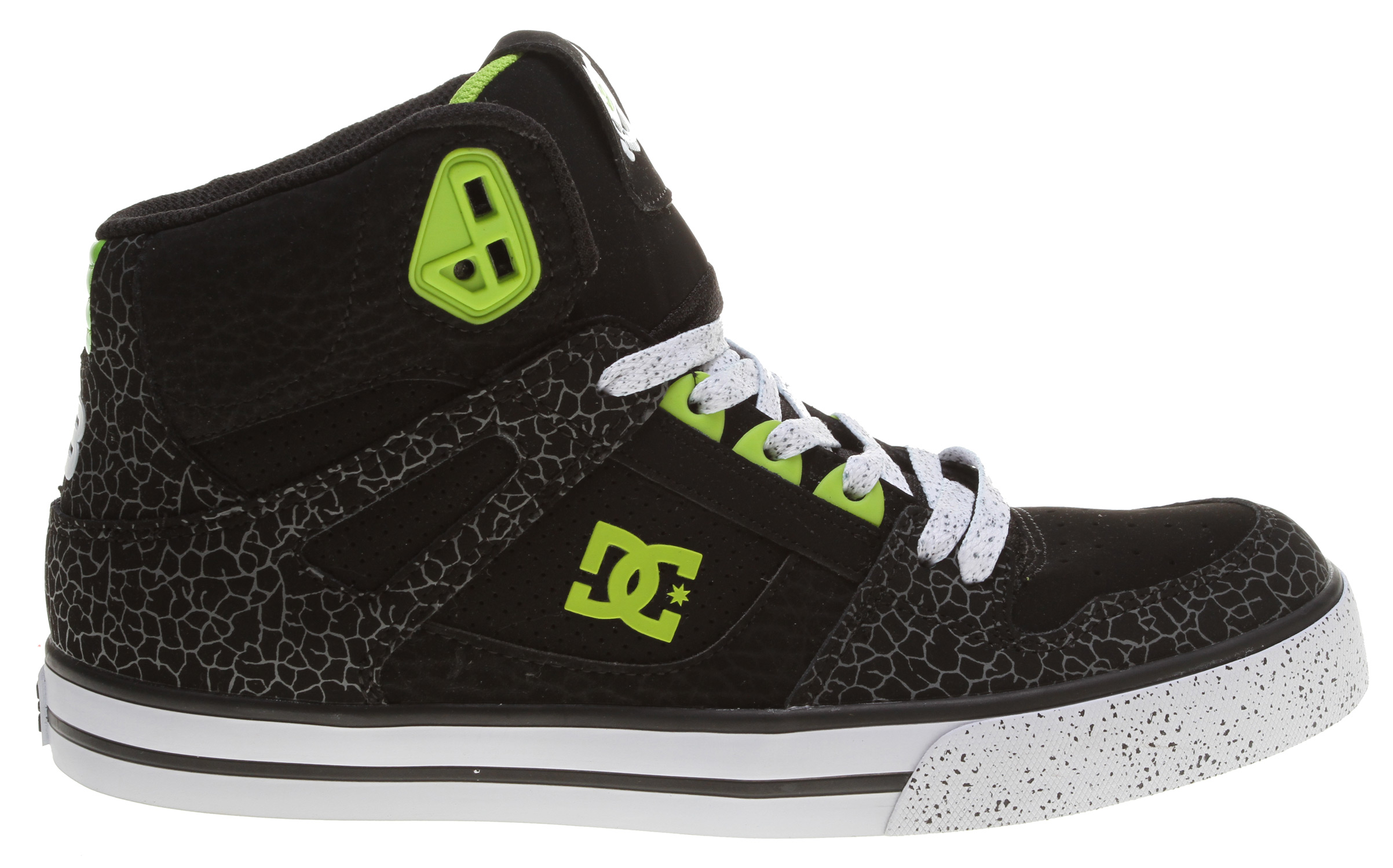 "Skateboard Skate like the pros in the DC Shoes Spartan HI skate shoes from the Ken Block Collection.Key Features of the DC Ken Block Spartan HI Skate Shoes: Leather, nubuck and/or suede upper in a technical hi top skate shoe style Features speckled paint print detail, logo detail on tongue Vent holes for breathability Padded collar and tongue Breathable textile lining and cushioned insole Gum rubber outsole with trademark DC ""Pill"" pattern - $69.95"