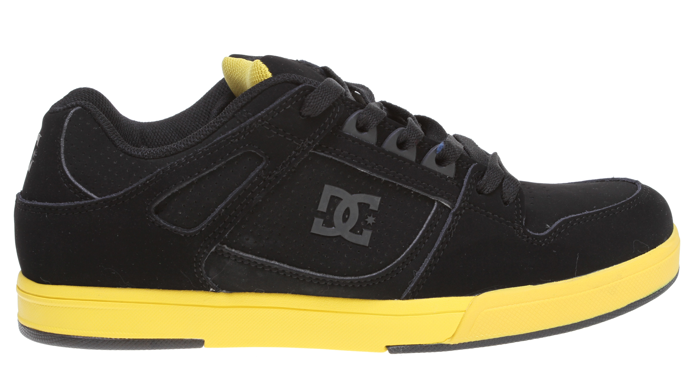 "Skateboard Key Features of the DC Spartan Lite Skate Shoes: Features DC's revolutionary Unilite technology Foam padded tongue and collar for added comfort and support TPU eyerow for reinforcement Foam padded tongue and collar for added comfort and support Strategically placed rubber on the outsole for long-lasting durability DC's Trademarked ""Pill Pattern"" bottom - $45.95"