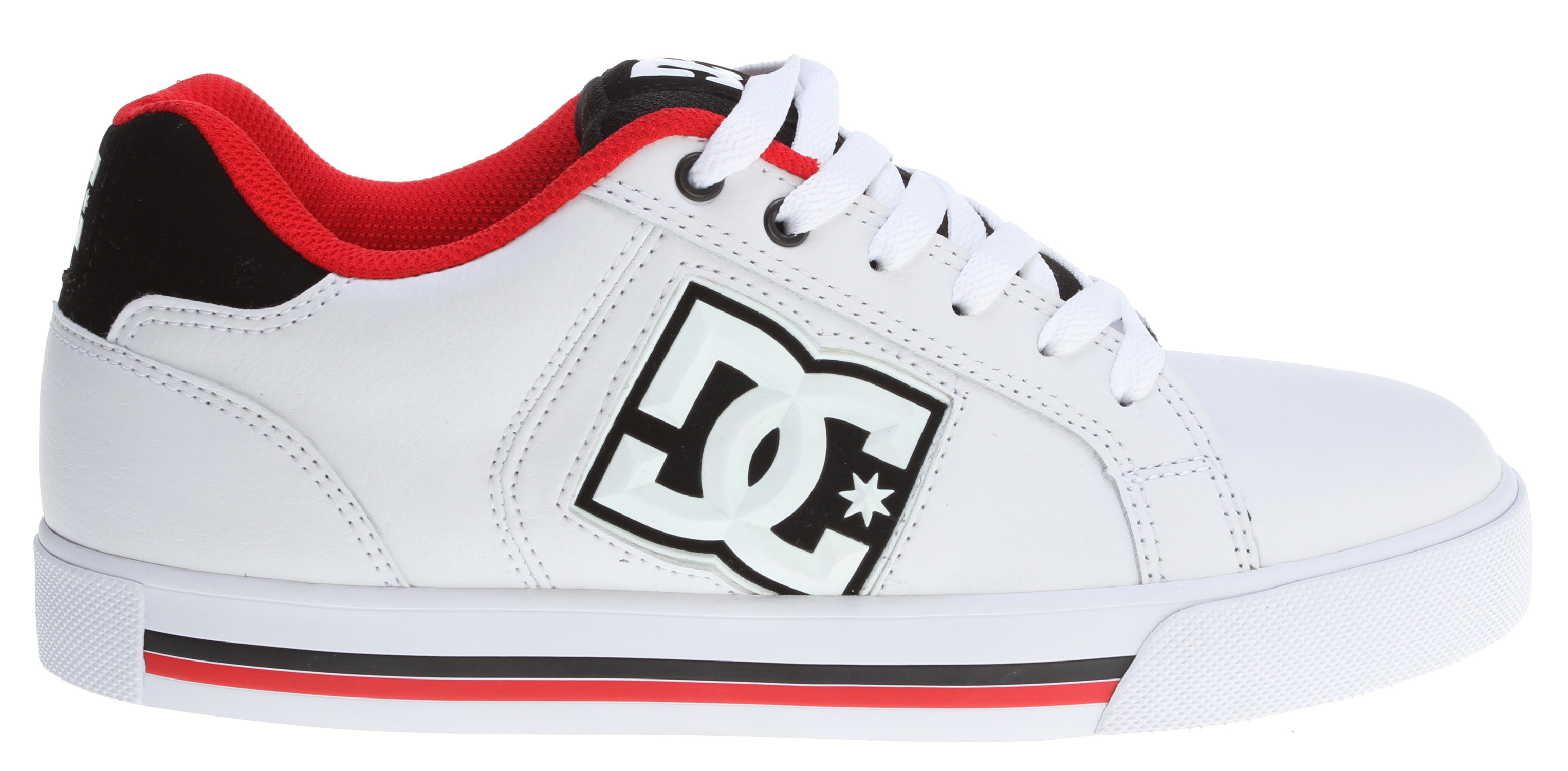 "Skateboard Key Features of the DC Stock Skate Shoes: Heavy-Duty Suede Upper Perforated Upper Panel Vent holes in upper Metal Eyelets Foam-Padded Tongue and Collar Spandex Tongue Holders Performance Rubber Wrap Cup Sole DGT Abrasion-Resistant Sticky Rubber Outsole with DC's Trademarked ""Pill"" Pattern - $38.95"