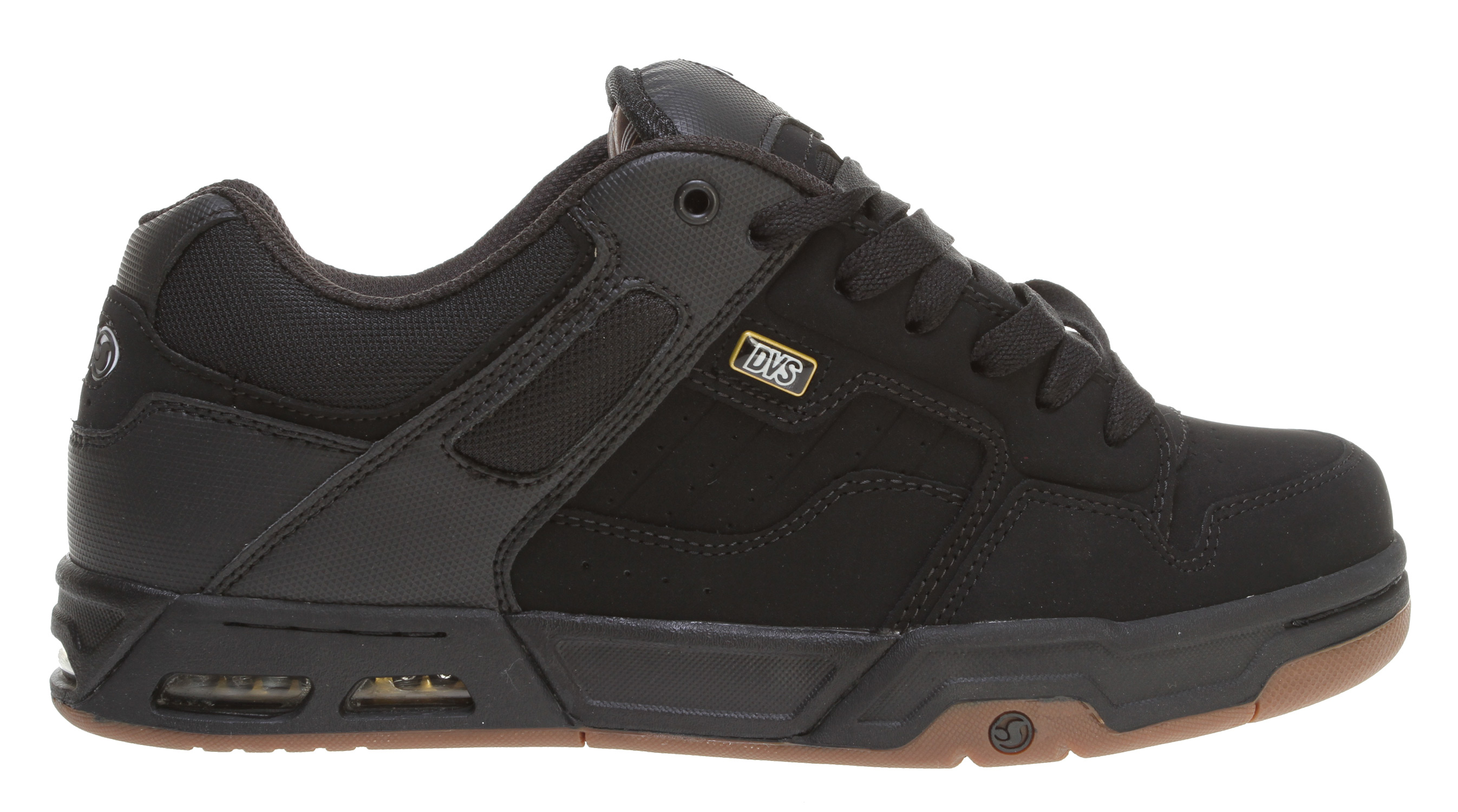 Skateboard Key Features of the DVS Enduro Heir Skate Shoes: Wrap Around 180 Degree Airbag Custom DVS Metal Badges TPR Logos Silicone Backed Embossments Double Stitched Paneling - $87.95