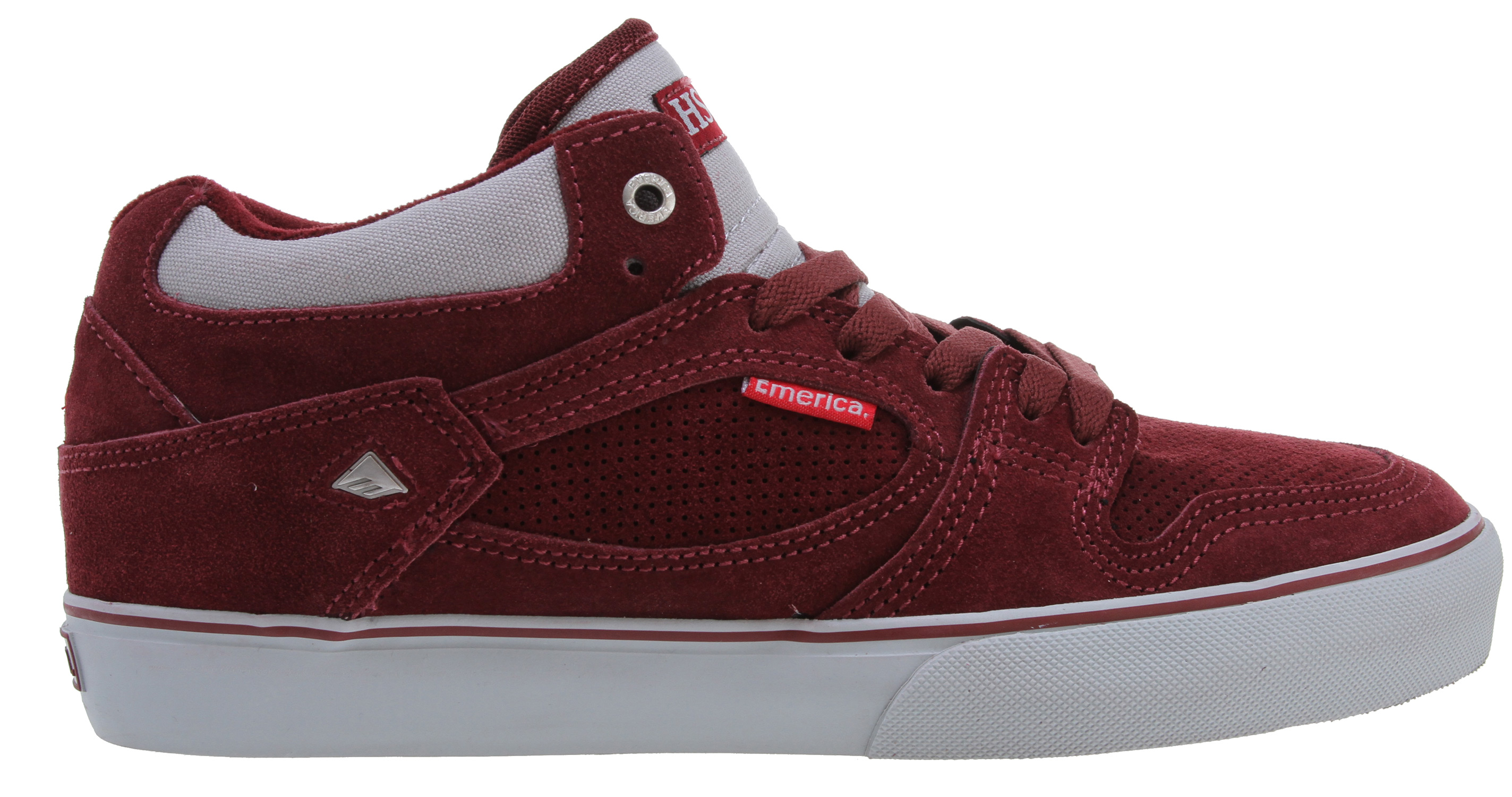 Skateboard Key Features of the Emerica Hsu Skate Shoes: Designed by Jerry Hsu Suede and canvas upper materials Mid-top for added ankle protection Thin padded tongue and collar Optional hidden lace flap Triple-stitched toe cap STI Foam STI PU Foam Lite level 3 footbed Vulcanized 400 NBS natural gum outsole - $49.95