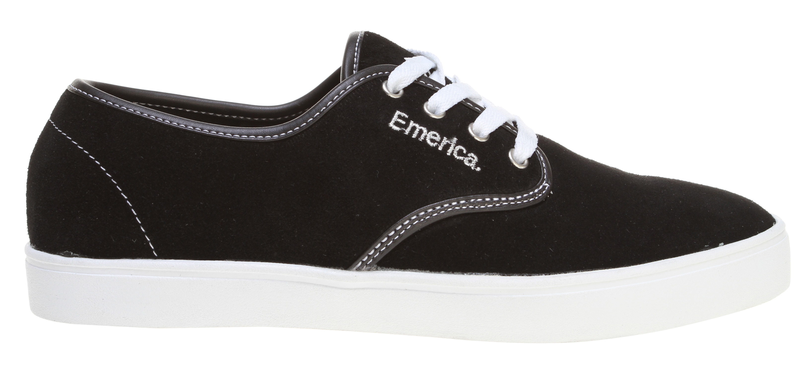 Skateboard Emerica team rider-inspired and desired, the Laced is a nice-priced, super-thin skate chiller that is, despite its name, meant to be worn without laces. just like Andrew runs 'em. Don't worry, a special hidden elastic band will keep these pups snug. But, we'll throw a set of laces in the box in case you want to tie up anyway.Key Features of the Emerica Laced Skate Shoe: Lightweight textile or suede upper materials STI Foam Lite level 1 footbed 400 NBS natural gum rubber cupsole - $49.95