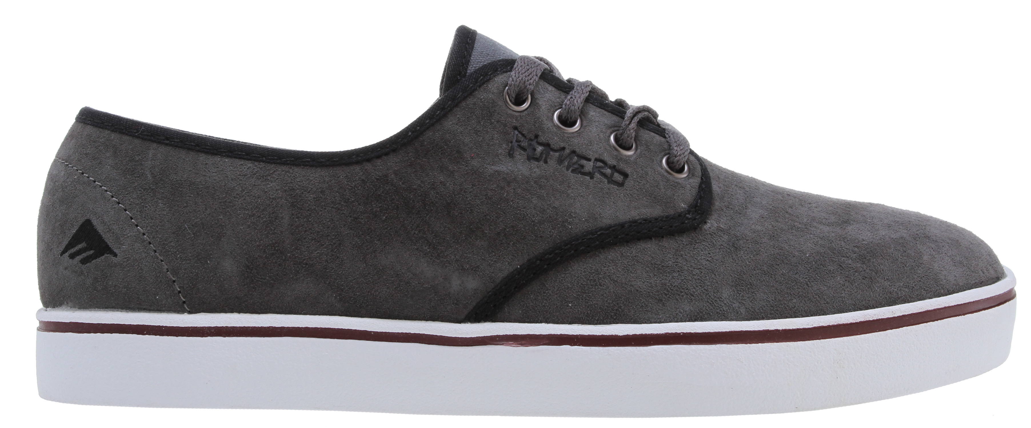 Skateboard Key Features of the Emerica Leo Laced Skate Shoes: Designed by Leo Romero Suede upper materials Thin padded tongue and collar Box-stitched Ollie area for protection STI Foam Lite level 1 footbed 400 NBS natural gum rubber cupsole - $44.95