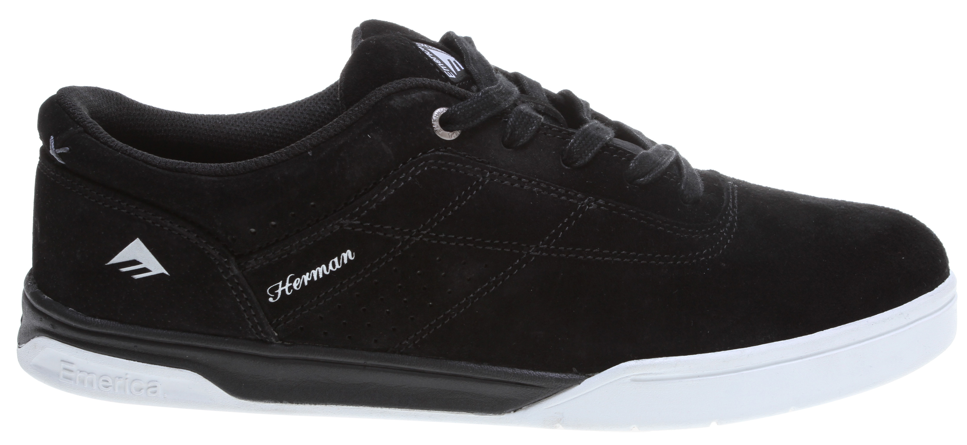 Skateboard Key Features of the Emerica The Herman G6 Skate Shoes: Designed by Bryan Herman Breathable tongue and medial sidewall keep feet cool One solid upper panel covers toe and Ollie area to help shoes last longer and provide better flick New G6 high-rebound lightweight foam footbed cushions bottom of feet Super flexible new lightweight cupsole design with G6 foam midsole provides loads of board feel for more accuracy Triangle tread pattern provides maximum grip for more confident skating - $54.95