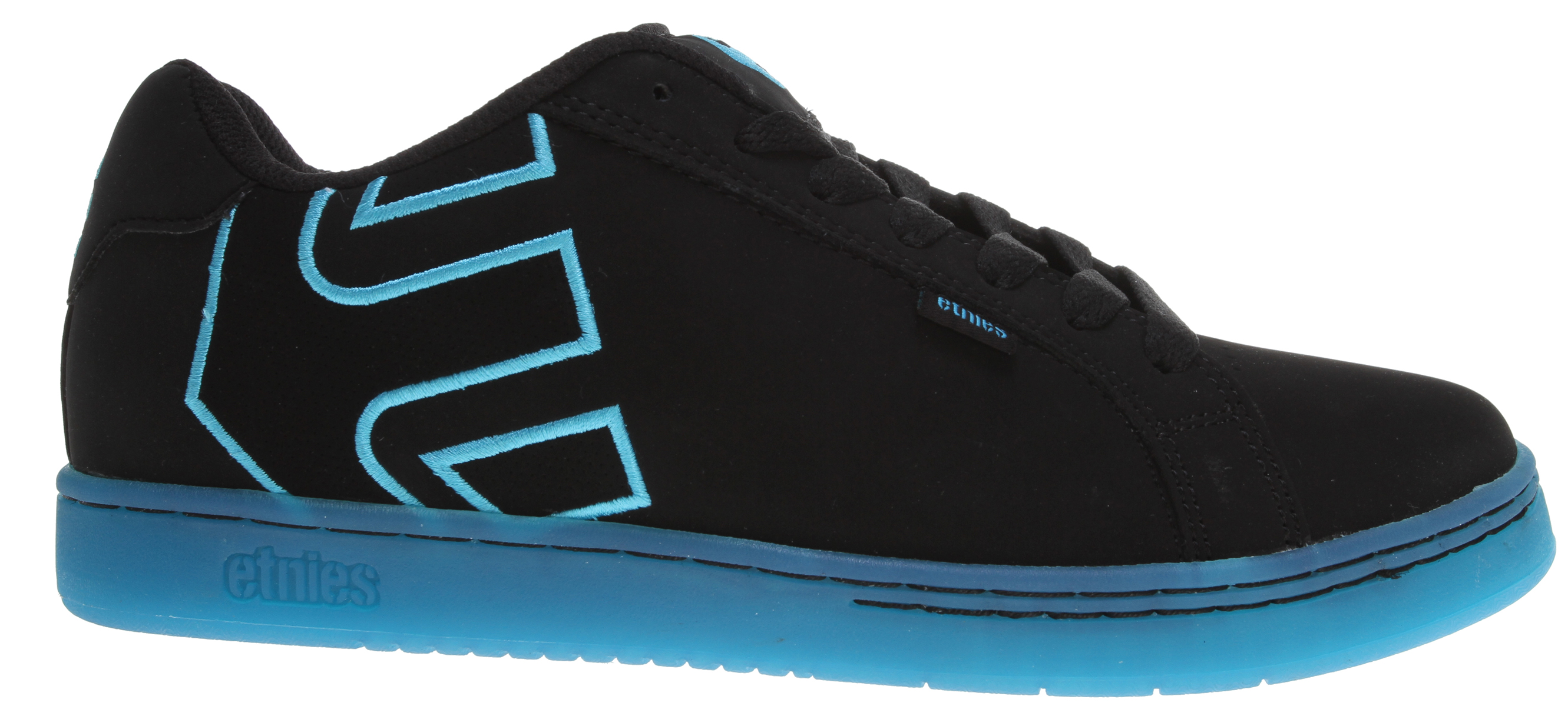 Skateboard Key Features of the Etnies Fader Skate Shoes: Trademark etnies Arrow logo integrated into heel area Elastic tongue-centering straps Padded tongue and collar STI Foam Lite Level 1 footbed New 300 NBS rubber outsole with internal EVA midsole - $48.95