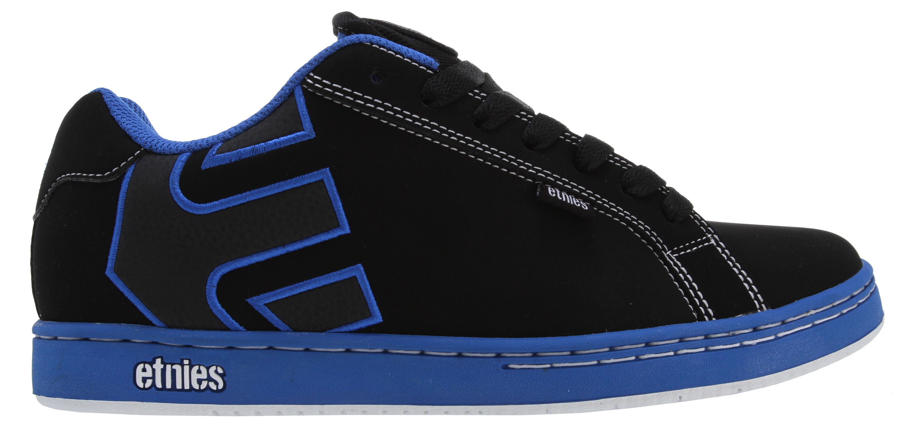 Skateboard Key Features of the Etnies Fader Skate Shoes: Trademark etnies Arrow logo integrated into heel area Elastic tongue-centering straps Padded tongue and collar STI Foam Lite Level 1 footbed New 300 NBS rubber outsole with internal EVA midsole - $45.95