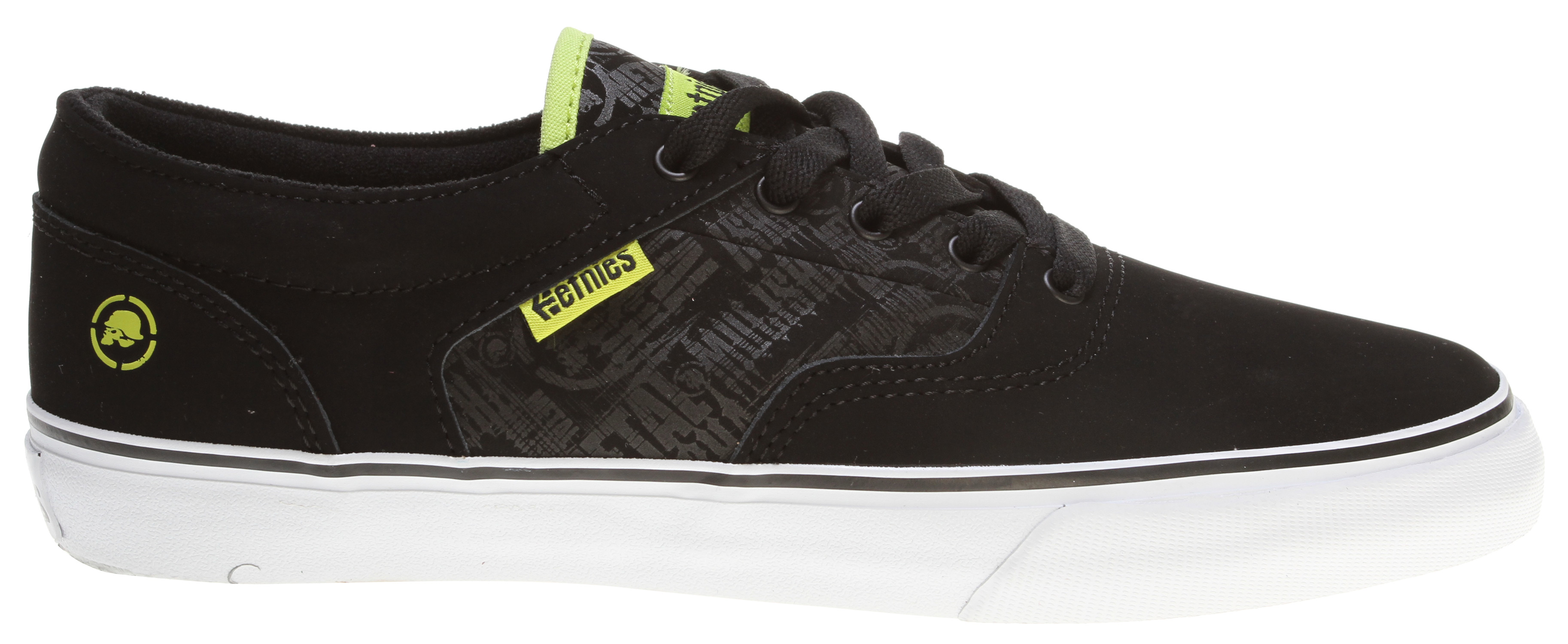Skateboard Key Features of the Etnies Metal Mulisha Fairfax Skate Shoes: Classic etnies styling Vulcanized dropped to the floor construction Thin padded tongue and collar STI DTF Pro 1 footbed 400 NBS rubber - $36.95