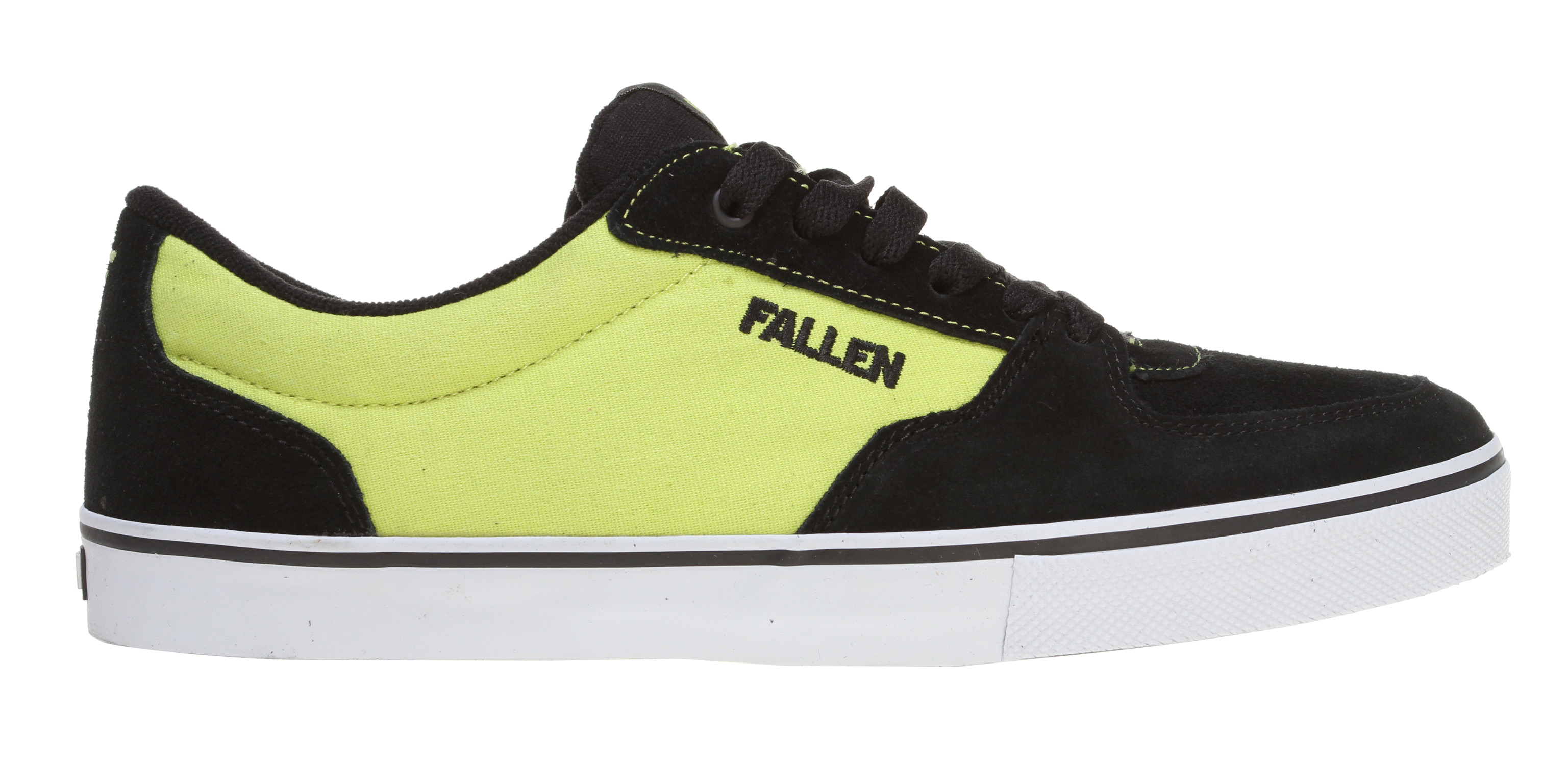 Skateboard Key Features of the Fallen Mission Skate Shoes: Genuine heavy duty suede and/or canvas upper Select models feature denim Asymmetric stabilizer for medial upper support Vulcanized sole construction EVA insole to absorb impact and provide cushioning Highly abrasion-resistant outsole for wear and durability - $42.95