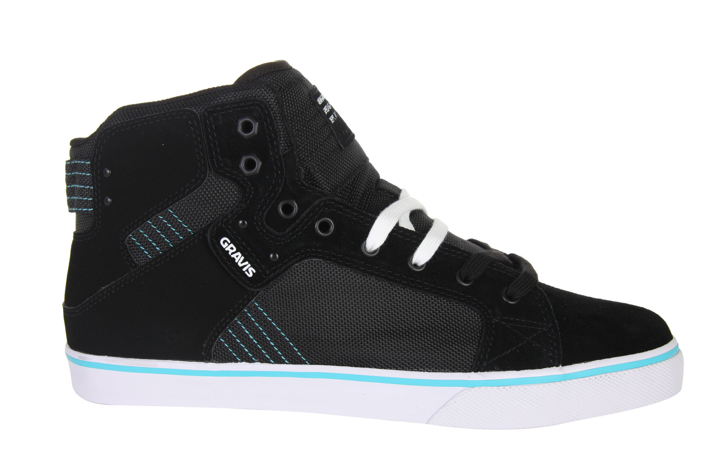 Skateboard Are you tired of hurting yourself when you are tearing it up on your board? Well the problem with most skate shoes are they are low cut, below the ankle shoes. When your ankle is not covered, this really makes it vulnerable to injury. That is why you need to get a pair of these Gravis Viking Hi Skate Shoes. They have a great high top design that will ensure you aren't wrecking your ankles when your wrecking your shred stick. Your ankles are the most important part of your body when it comes to skating, you can't skate with a broken ankle. So protect your ankles while making your feet look great. These shoes just aren't all looks and protection. They are a great performing shoe that will have you sticking all your tricks.Key Features of the Gravis Viking Hi Skate Shoes: New last shape and vulcanized construction Suede, canvas and ripstop upper TecTuff material on toe and eyestay of black colorway Comfort mesh lining Cloud 9 PU footbed High traction rubber outsole - $59.95
