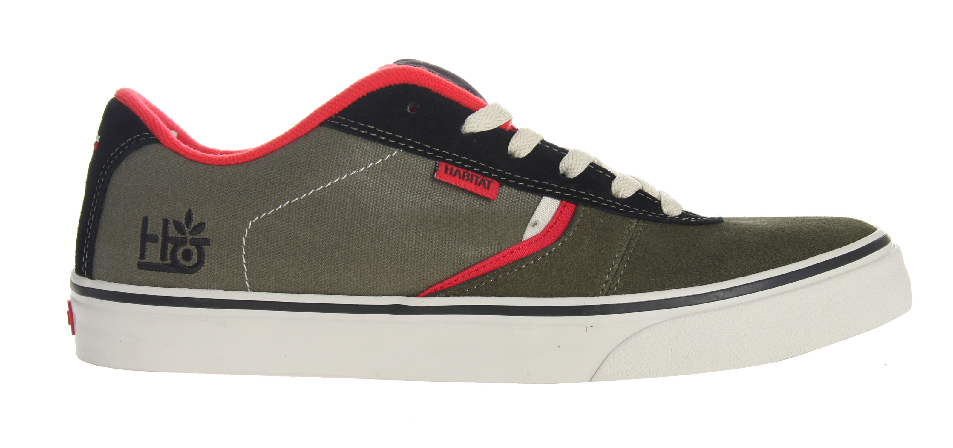 Skateboard The Lark skater shoe by Habit is designed in the ideal, low profile skate silhouette, constructed of high quality suede, synthetic nubuck and canvas with a seamless toecap and they are assembled using water based glue. The Lark features moderate tongue and collar padding along with a lightweight phylon foot bed with extra cushioning for the heel and a vulcanized outer sole made from recycled natural gum. These are great shoes for skaters and are ready to hit the asphalt in a park or on the streets.Key Features of the Habitat Lark Skate Shoes: Ideal skate silhouette Immoderate tongue and collar padding Seamless toecap Suede, canvas, and synthetic nubuck upper Recycled regrind/natural gum outsole Assembled with water-based glues Vulcanized outsole construction Lightweight phylon footbed with added heel cushioning - $44.95