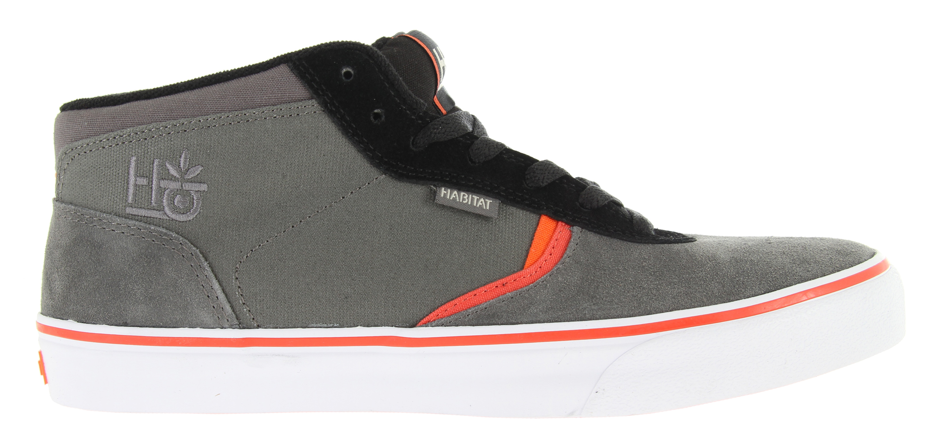 Skateboard Key Features of the Habitat Lark Mid In4Mation Skate Shoes: Traditional low profile skate silhouette Thin tongue and collar padding Seamless toecap Suede canvas and synthetic nubuck upper Recycled regrind/natural gum outsole Assembled with water-based glues Vulcanized outsole construction Premium PU footbed - $64.95