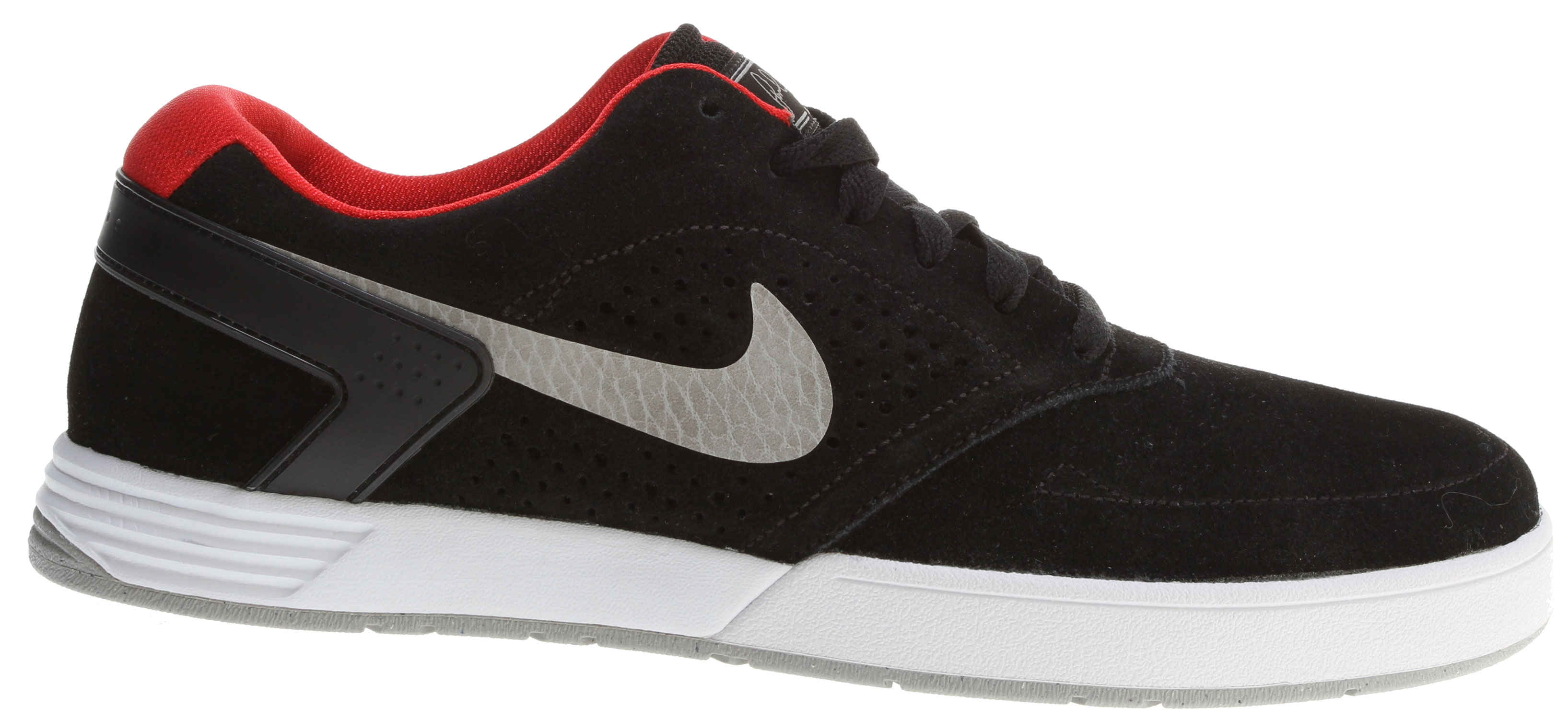 Skateboard Lightweight, breathable protection, merged with Nike innovation to create the perfect low-top skate silhouette.Key Features of the Nike Paul Rodriguez 6 Shoes: UPPER: Suede/leather with increased layers Designed for breathable protection OUTSOLE: Decreased usage of rubber, combined with a razor herringbone tread pattern, provide flexibility and traction MIDSOLE: Lunarlon foam, encased in a Phylon midsole, provide the ultimate lightweight cushioning. - $62.95