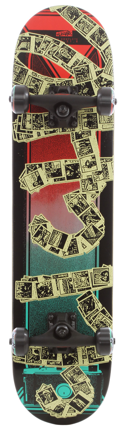 "Skateboard The Cliche Pola Skateboard Complete in Black/Red has strong a 7-ply deck, 5"" Trucks manufactured by Film ABEC 3 bearings and 52mm Wheels for skate park punishment and an all out skate assault on your city. Don't outrun the cops out skate them on your new Cliche Pola Skateboard Complete.Key Features of the Cliche Pola Skateboard Complete: Complete Skateboard Package 7.75 Wide 31.5"" Tall Grip tape Film trucks 5.0 dim black Clich Pola wheels 52mm Clich ABEC 3 bearings Clich hardware allen - $89.95"