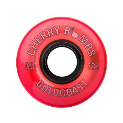 Skateboard The Cherry Bombs are our retro-style cruiser wheel. They are soft and conical to provide excellent grip. Mount up with these when you're ready to light it up. Key Features of the Goldcoast Cherry Bombs Skateboard Wheels TNT: 60mm Tall 44mm Contact Patch 78A Durometer - $32.50