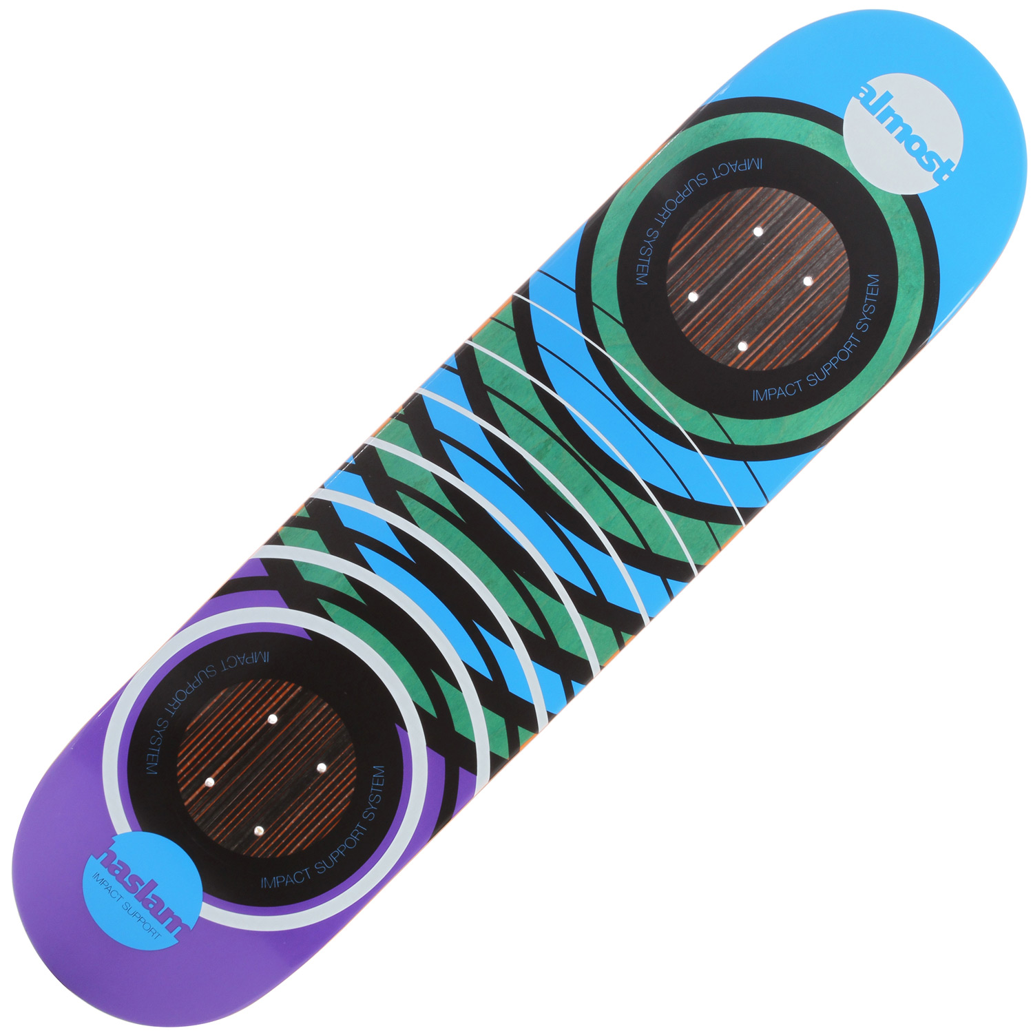 Skateboard Key Featuers of the Almost Haslam Og Impact V4 Skateboard: Carbon fiber strips Die-cut carbon fiber discs disperses energy away from breaking points Energy disperses throughout the entire deck - $49.95