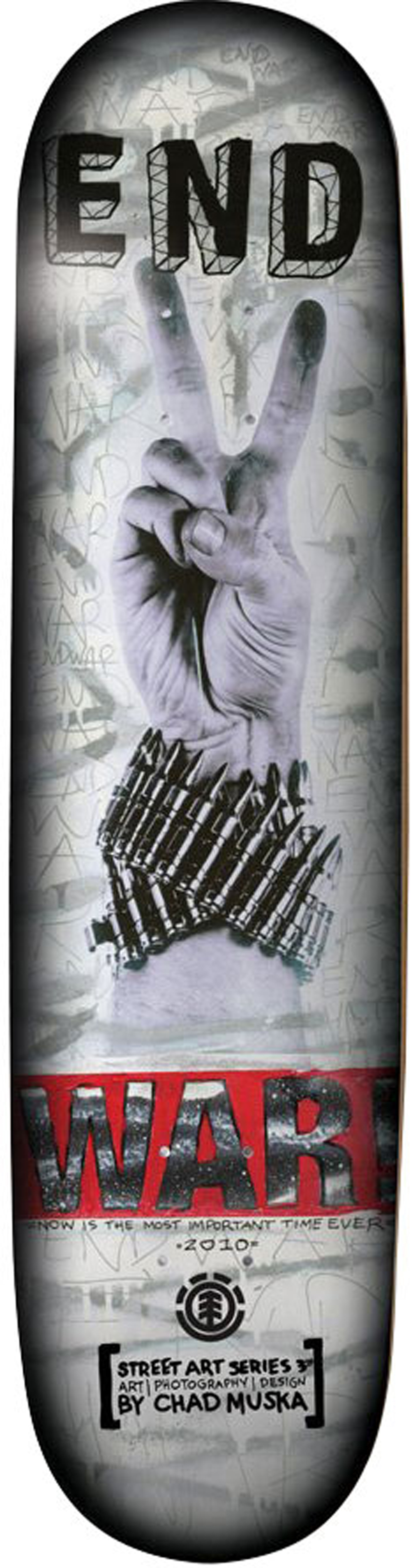 "Skateboard Chad Muska has been blowing up the New York streets with his posters and stencil art and he's has the same effect in skate shops with his ""Street Art"" decks. Element is proud to release Muska's new Street Art 3 series with the Element Muska War Skateboard Deck. - $59.95"