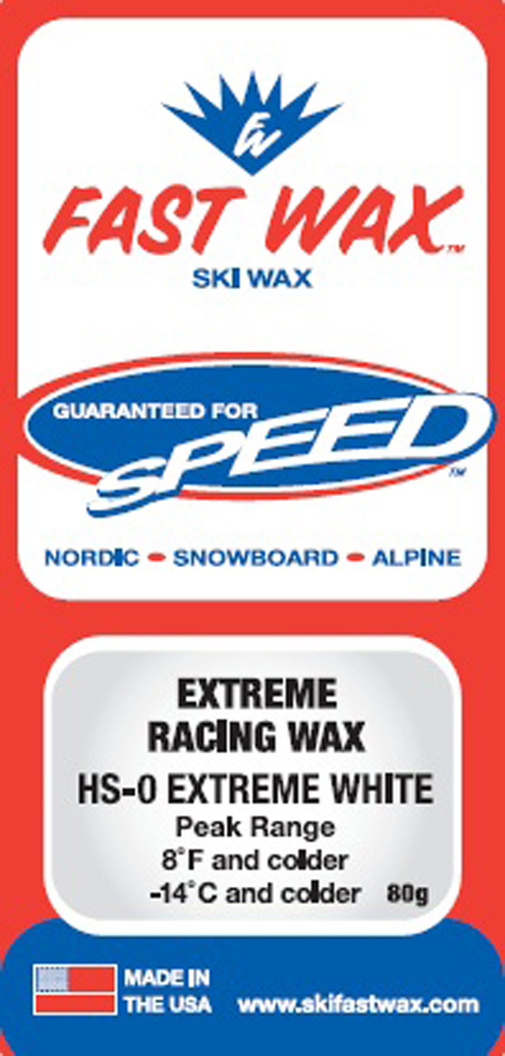 Ski The most suburb cold weather ski and snowboard wax on the market Excellent in..... old wind blown powdery snow or man-made snow. Extreme cold Skiing Conditions... Greasy fast skis in cold conditions Under these conditions the snow is generally hard pack and icy, a stiff ski works best.Key Features of the Fast Wax HS-0 Wax White: Peak Temp Range 8 deg F and colder (-14 deg C and colder) - $8.95