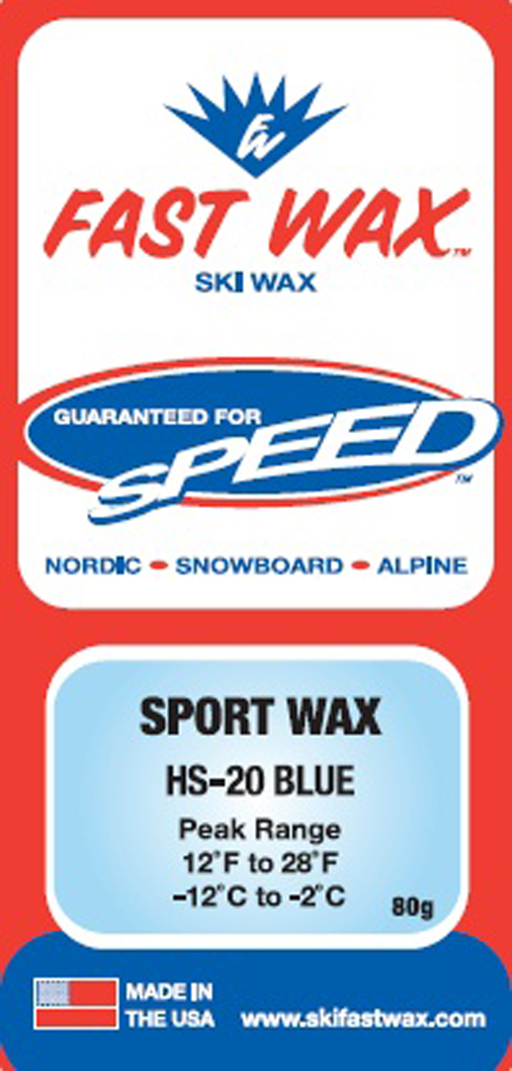 Ski Most common winter skiing wax, works well over a wide temperature range is excellent on powder snow. Key Features of the Fast Wax HS-20 Wax: Great training wax. Used as an under-layer to the harder cold waxes For new snow use a medium or soft flex ski For hard pack or cold snow, a stiff ski works best with a Universal Structure. Fine linear grind or a 0.2 mm to 0.4 mm linear structure, 0.3 mm broken Universal Grind - $8.95