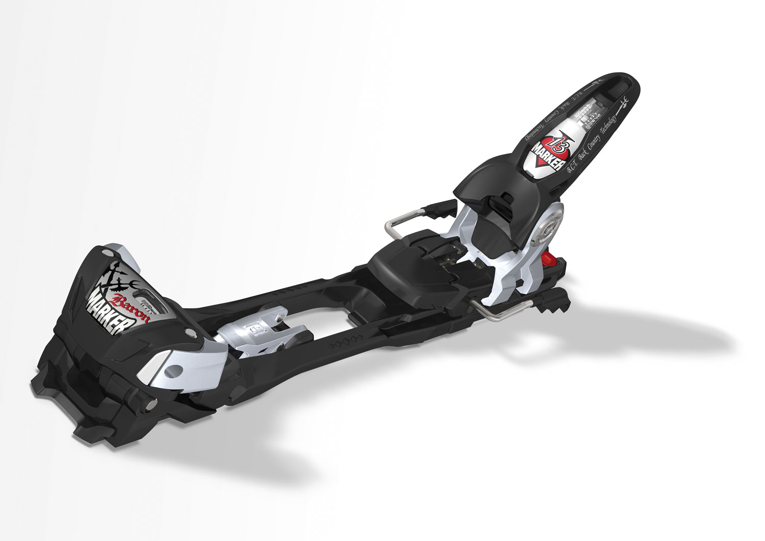 Ski The Baron is suited for lighter-weight big mountain skiers who want the performance of the triple-pivot toe and inter-pivot heel. It features 4-13 DIN range and a lighter weight construction for an overall weight of 2450(sm) and 2480(lg) grams per pair. Optional brake sizes 90mm,110mm and 130mm.Key Features of the Marker Baron Ski Bindings: Power-Width-Design For Maximum Power Transmission Low, Level Stand Height Shortest Frame Of All Hiking Models In The Market 10 Mm Wider Interface Than Traditional Bindings (Not Built Around The Historic 63 Mm Sl Ski Like Conventional Bindings) Connection Brackets Extend Upward On The Outside, For The Ultimate Power Transmission Patented BCT (Back Country Technology) Uphill Hiking Mode Easy Adjustment From Ride To Hike New: Same Hiking Aid As The Tour Bindings With 7degrees And 13degrees Position Protected BCT Lever In Ski Mode 40 Mm Backward Movement In Bc Mode For Better Balanced Ski Swing Weight And Easier Kick Turns Recommended For Skis Over 76 Mm Din Range 4 - 13 Recom. Skier's Weight 80+ Lbs. Stand Height W/O Ski 36 Mm Toe System Triple Pivot Elite Gliding AFD Height Adjustable/Alpine/At Step-In Heel Inter-Pivot EPS System Hike Function Integrated Climbing Aid Freeride Brake No-Pull-Out Screws - $264.95