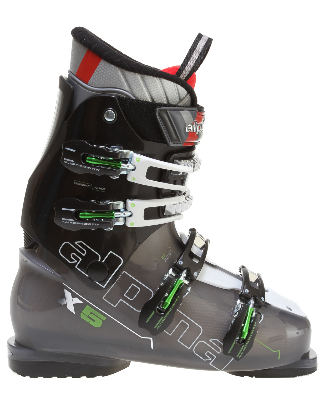 Ski Key Features of the Alpina X5 Ski Boots: Sport fit liner PP shell & cuff material Flex Index 60 Men's last Ergonomic shell volume Anatomic footbed Thermo unifit padding New ALU micro adjustable buckles Macro adjustable catches Power strap 35mm - $207.95