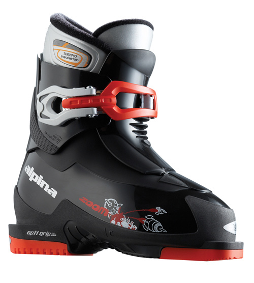 Ski Key Features of the Alpina Zoom Ski Boots: Easy entry tongue system Extra strong buckle OptiGrip sole design PU heel & toe plates PP Shell material Extra strong buckles Thermo insulating liner - $71.95