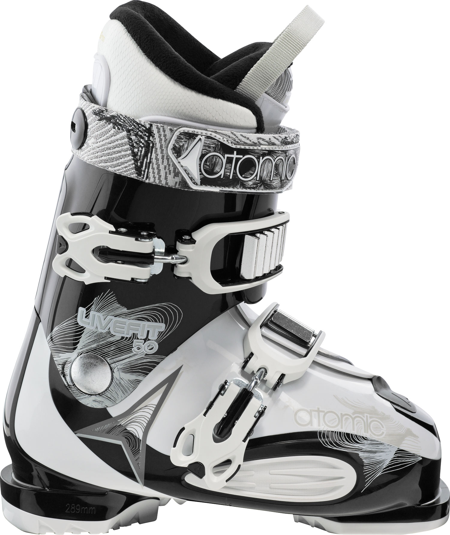 Ski Key Features of the Atomic LF 50 Ski Boots: 50 Flex Mega PC Buckle 35mm Strap ASY Comfort Liner Wide Fit Soft Flex - $174.95