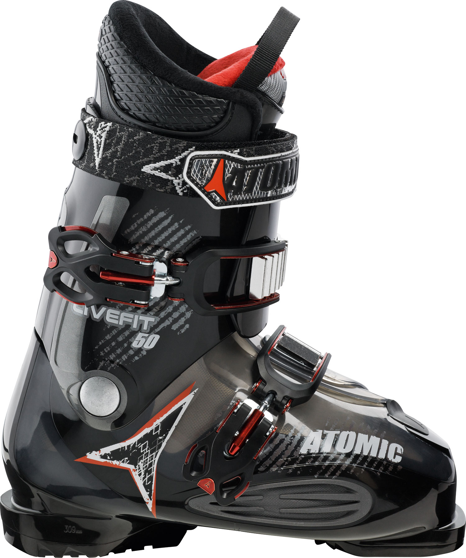 Ski Key Features of the Atomic LF 50 Ski Boots: 50 Flex Mega PC Buckle 35mm Strap ASY Comfort Liner Wide Fit Soft Flex 102mm Wide Fit Soft Fit - $222.95