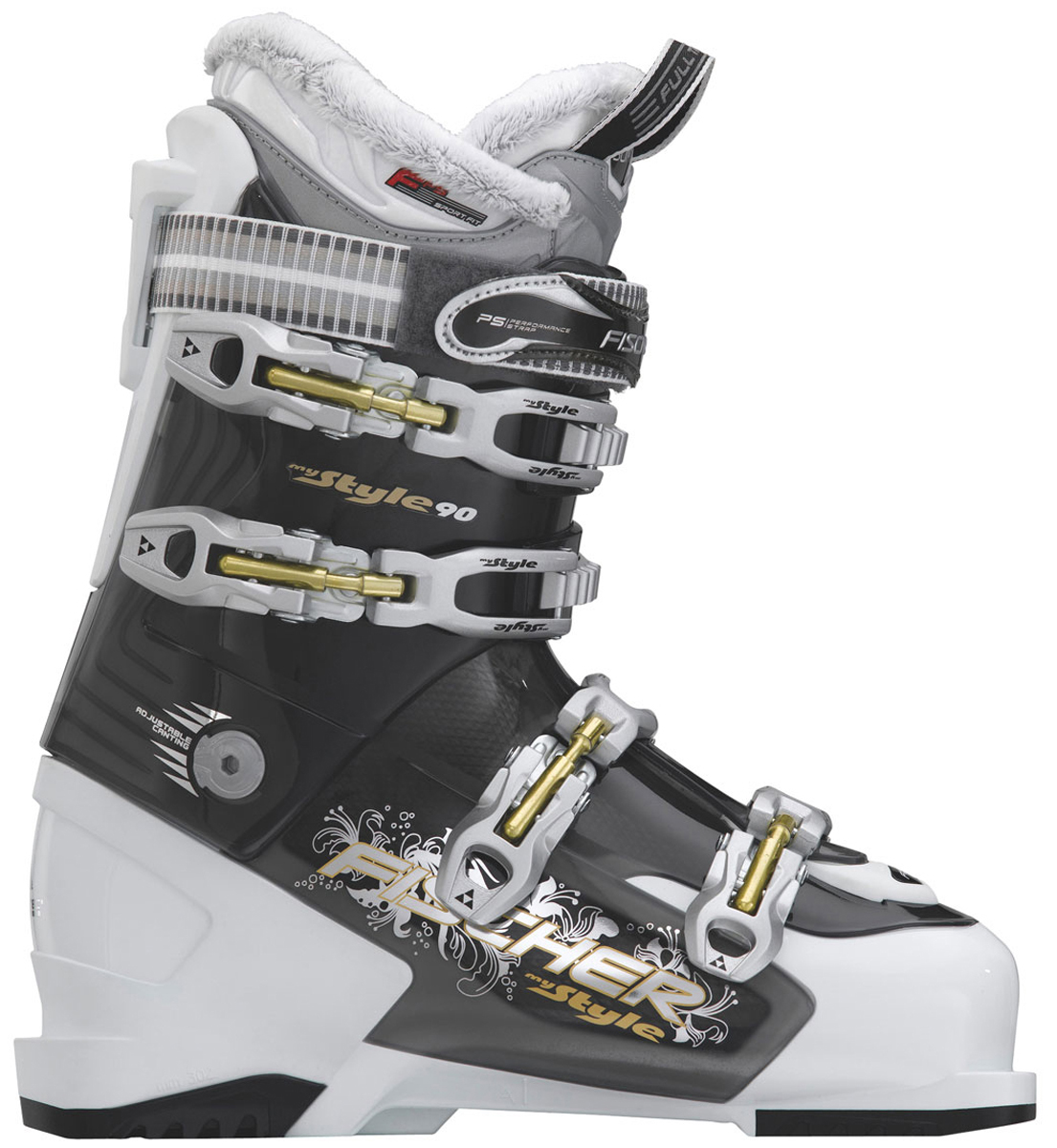 Ski Sporty ladies' boot. This comfort boot not only looks good, it also has impressive features inside, too.Key Features of the Fischer My Style 90 Ski Boots: FFS Sport Fit Liner with Rapid Slide System Fur Lining Single Canting Lady Spoiler Heat System Ready Soma-Tec Flex: 90 - $306.95