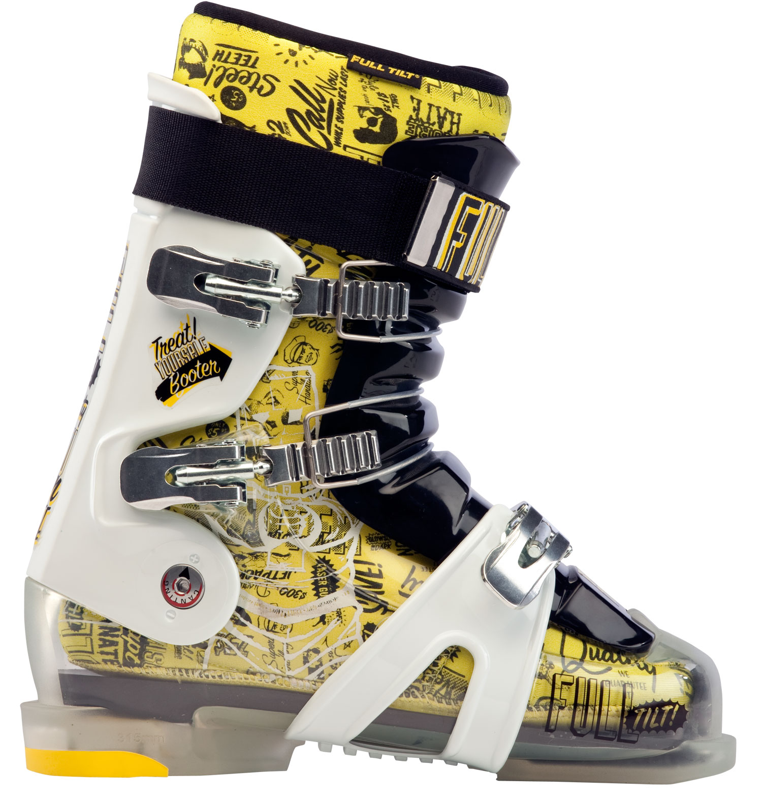 Ski Not all feet are made the same and Full Tilt Booter Ski Boots kept that in mind when attempting to make the perfect fitting ski boot. With a width space of 102 mm, this boot is a great choice for skiers with a wider foot who will be out on the slopes for the whole day. In addition, an Intuition foam liner and replaceable rubber sole helps greatly when it comes to molding the boot to fit each foot perfectly. The Full Tilt boot is a top choice for comfort and performance.Key Features of the Full Tilt Booter Ski Boots:  Shell: FTI Influence  Last Width: 102mm  Tongue (10 = Stiffest Flex : Interchangeable   5 Flex / 5 Ribs  Weight g (sizes M 27, W 25 : 1995  Foot Board: Active  Sole: Replaceable Rubber  Small Heel  Buckles: 3 Aluminum   Macro Ladder   Micro  Closure System: 2 Upper Cables   1 Lower Wrap Strap  Forward Cant Adjustment: n/a  Lateral Cant Adjustment: 3mm  Toe / Heal Height: 18.5mm / 34mm  Cuff: Free Hinging  Quickfit Liner Model: PERFORMER  Open Cell Foam: 4mm  Soft Density Intuition Foam: 2mm  Regular Density Intuition Foam: 7mm  High Density Intuition Foam:   Moldable Foam: Intuition   Wide Toe: Wide toe - $179.95