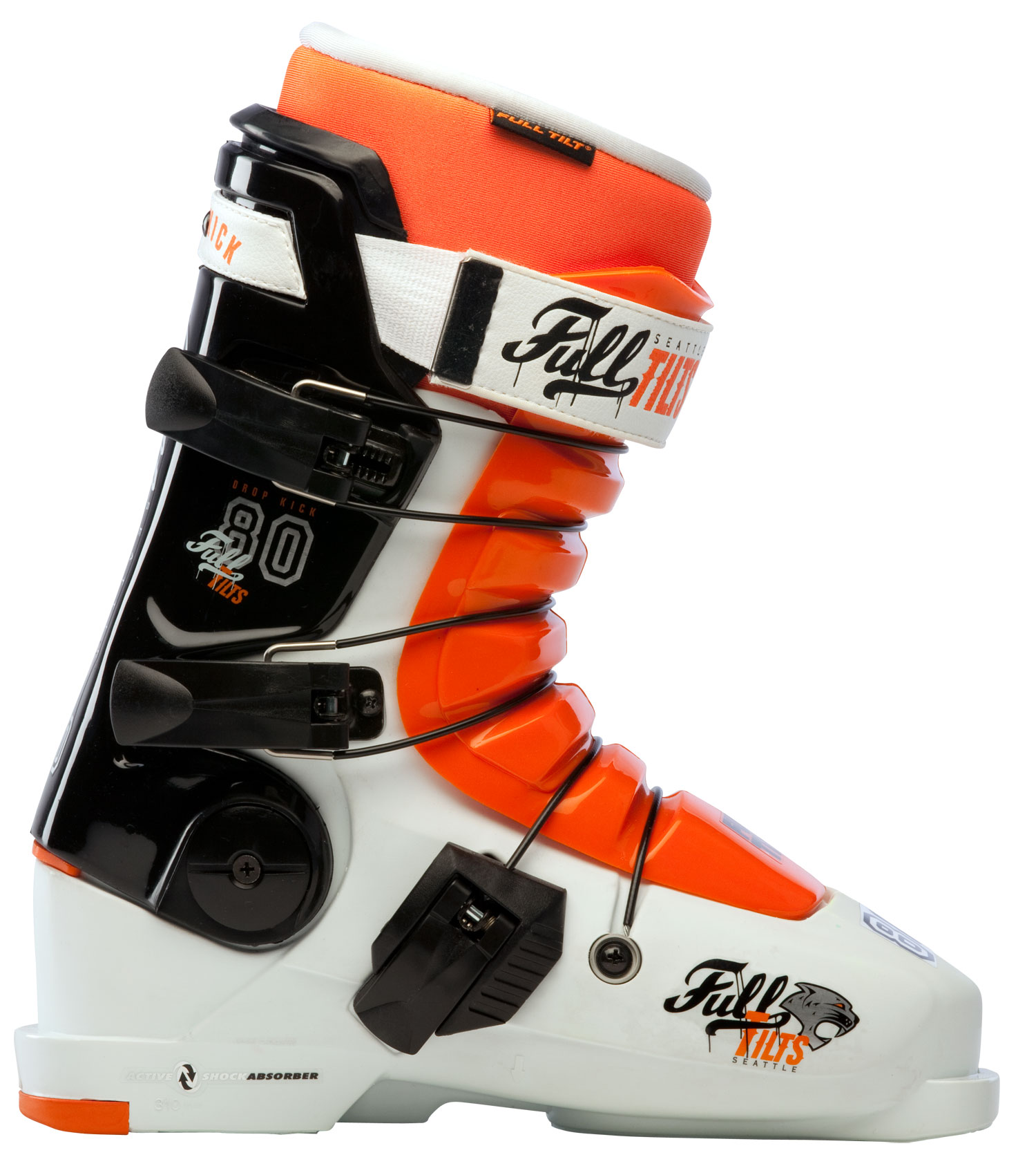 "Ski Key Features of the Full Tilt Drop Kick Ski Boots: Shell: FTO Original Last Width: 99mm Tongue (10 = Stiffest Flex): Interchangeable 6 Flex / 7 Ribs""= Weight g (sizes M 27, W 25): 1825 Foot Board: Active Sole: Replaceable Rubber Small Heel Buckles: 3 Nylon Micro Ratchet Closure System: 3 Cables Forward Cant Adjustment: 3 & 7.6mm Wedges Lateral Cant Adjustment: 12mm Toe / Heal Height: 14.5mm / 32mm Cuff: Free Hinging Quickfit Liner Model: PERFORMER Open Cell Foam: 4mm Soft Density Intuition® Foam: 2mm Regular Density Intuition® Foam: 7mm High Density Intuition® Foam: Moldable Foam: Intuition® Powerwrap: Wide Toe: Wide toe - $383.95"